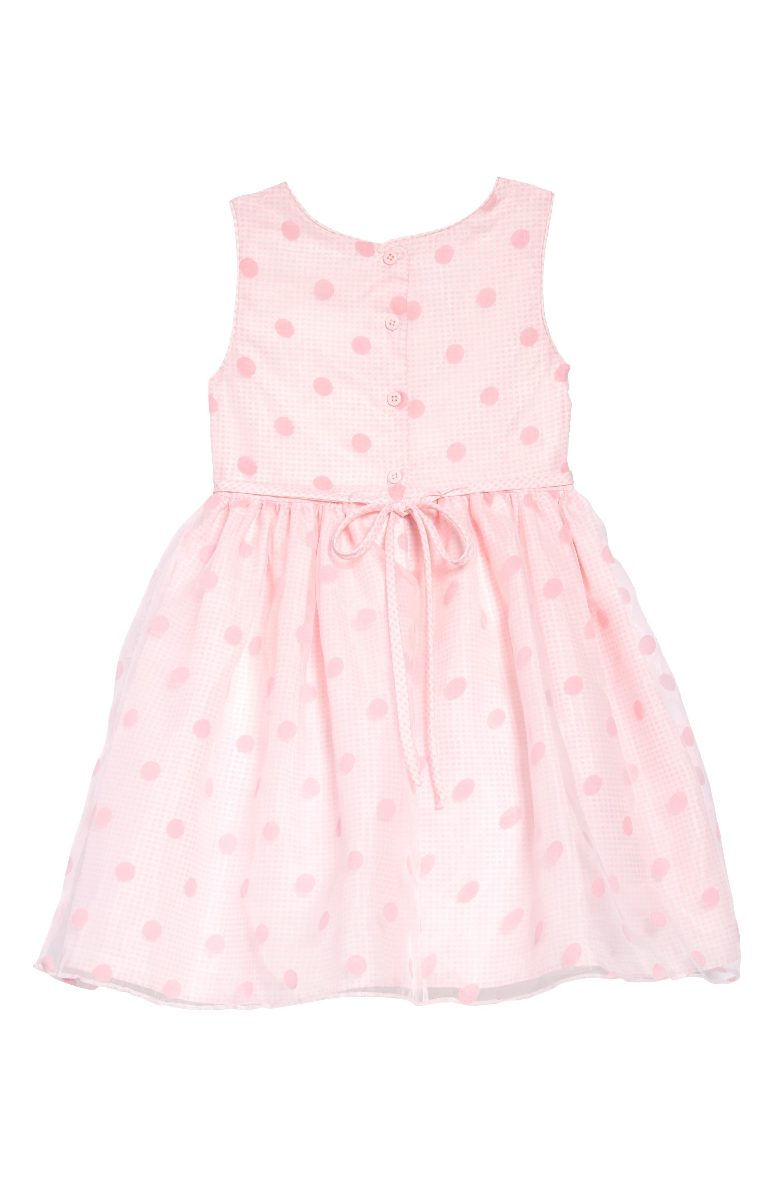 FRAIS, Dot Overlay Gingham Dress, Alternate thumbnail 2, color, PINK