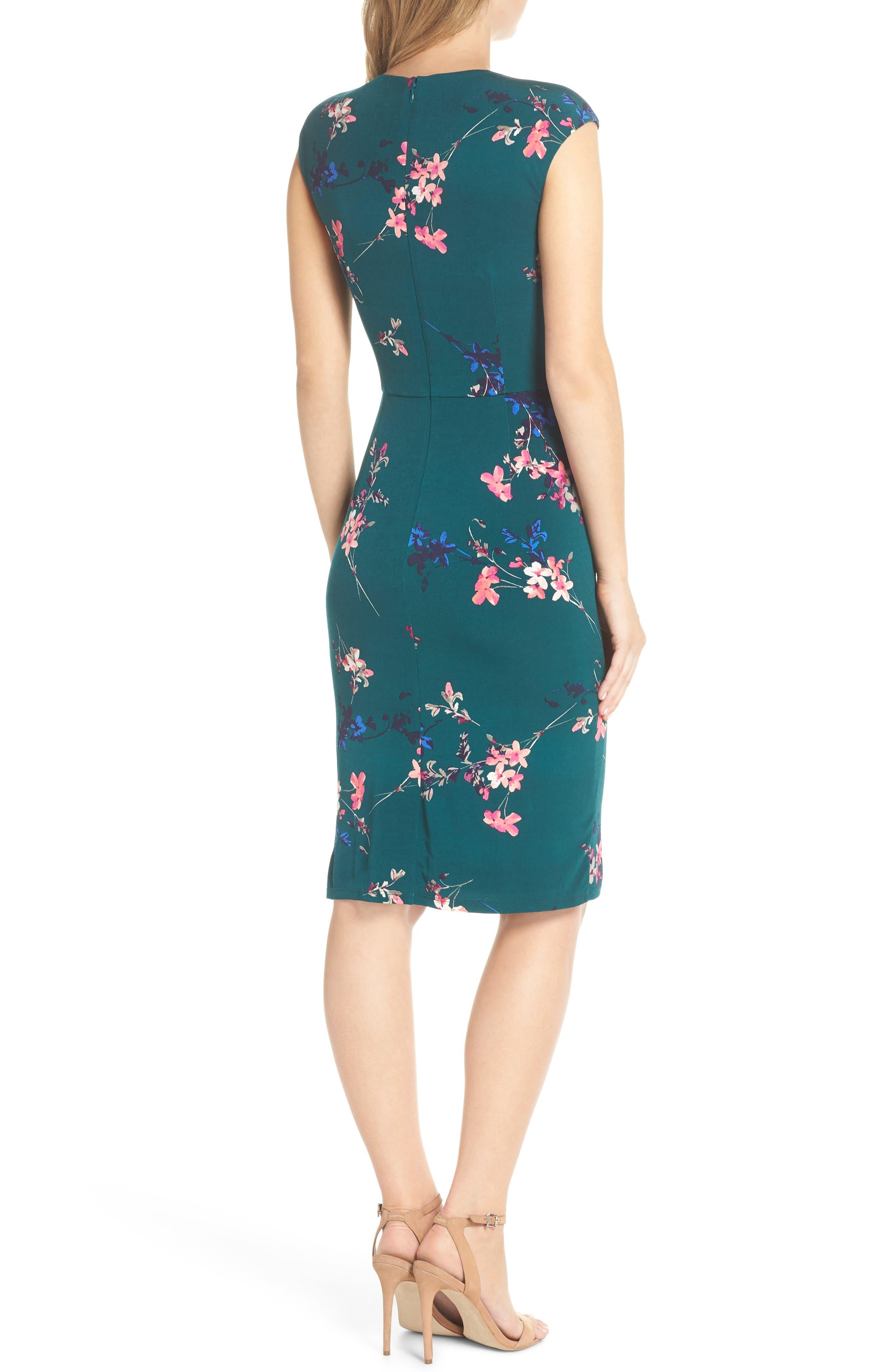 ELIZA J, Cap Sleeve Floral Print Sheath Dress, Alternate thumbnail 2, color, GREEN