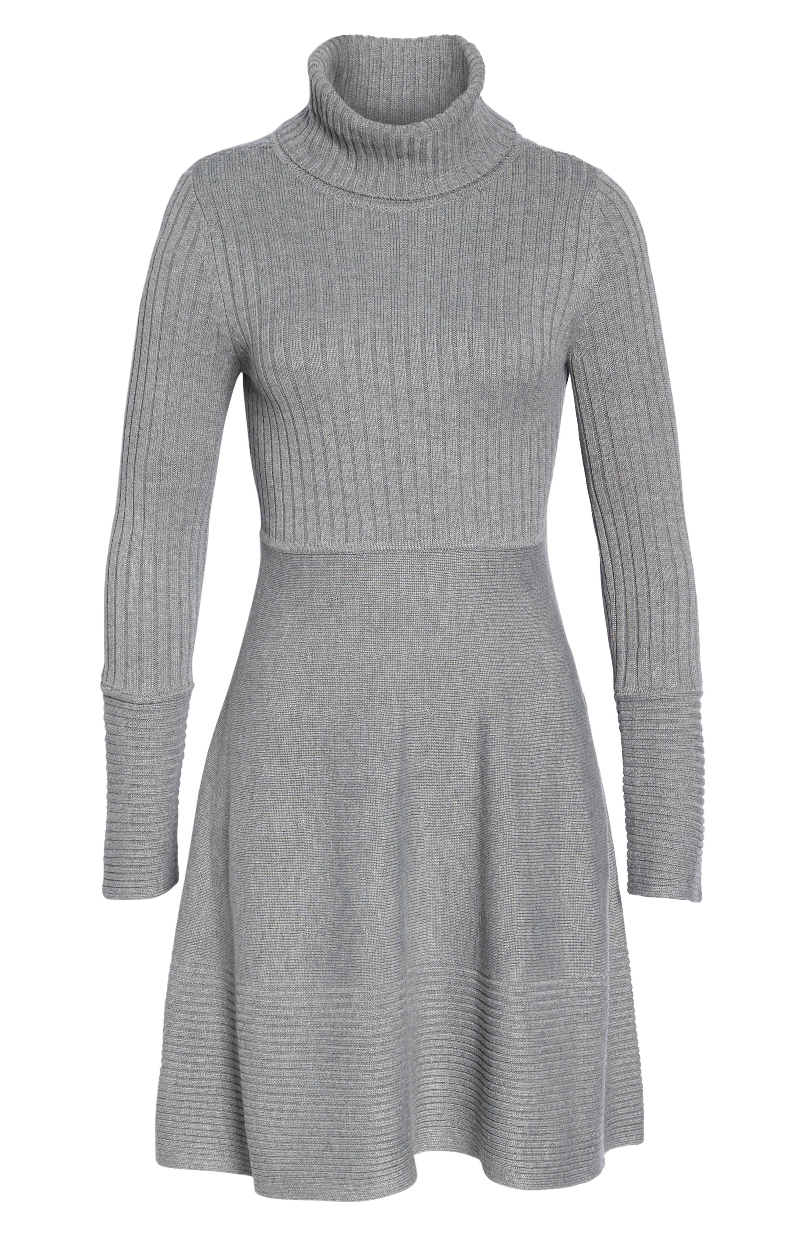 ELIZA J, Turtleneck Sweater Dress, Alternate thumbnail 8, color, GREY