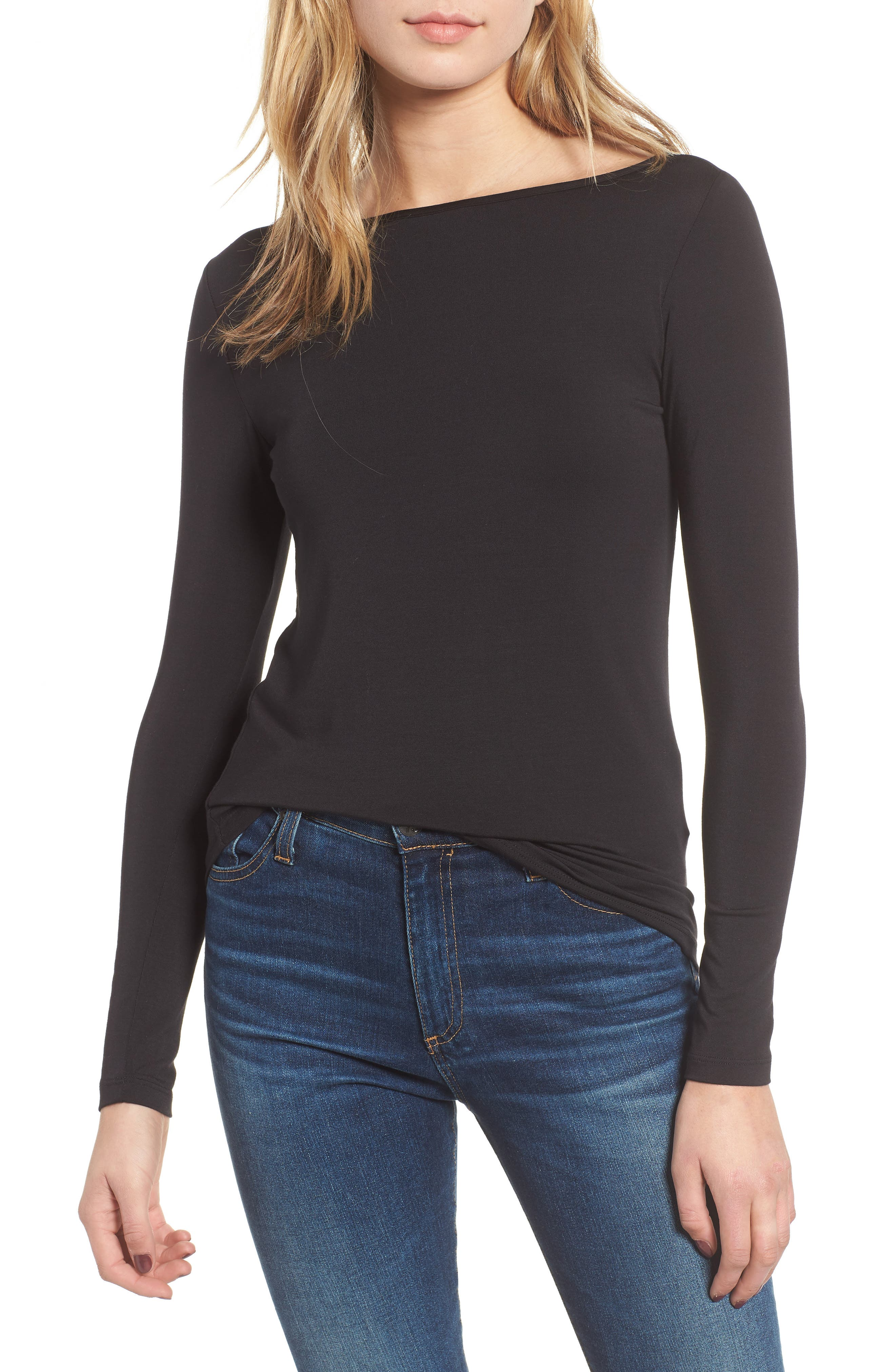 AMOUR VERT Francoise Stripe Top, Main, color, BLACK
