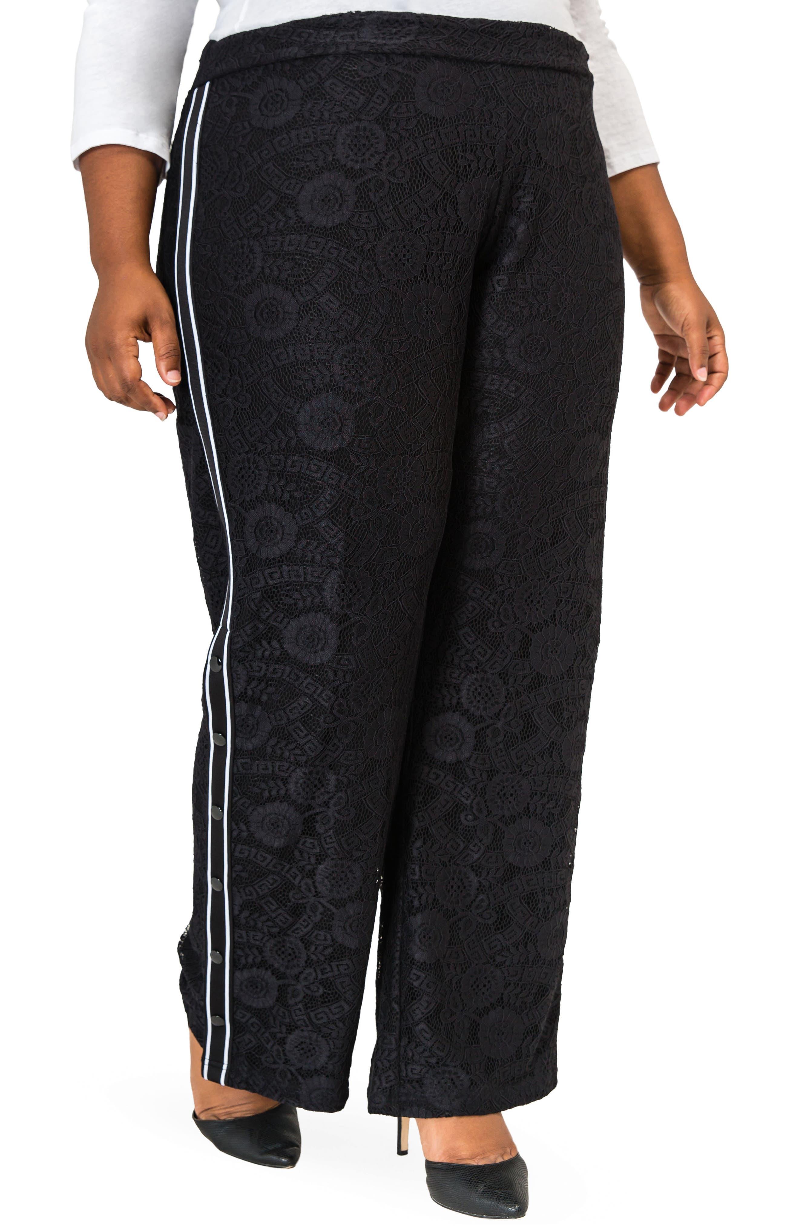 POETIC JUSTICE, Cornella High Rise Lace Knit Track Pants, Main thumbnail 1, color, BLACK