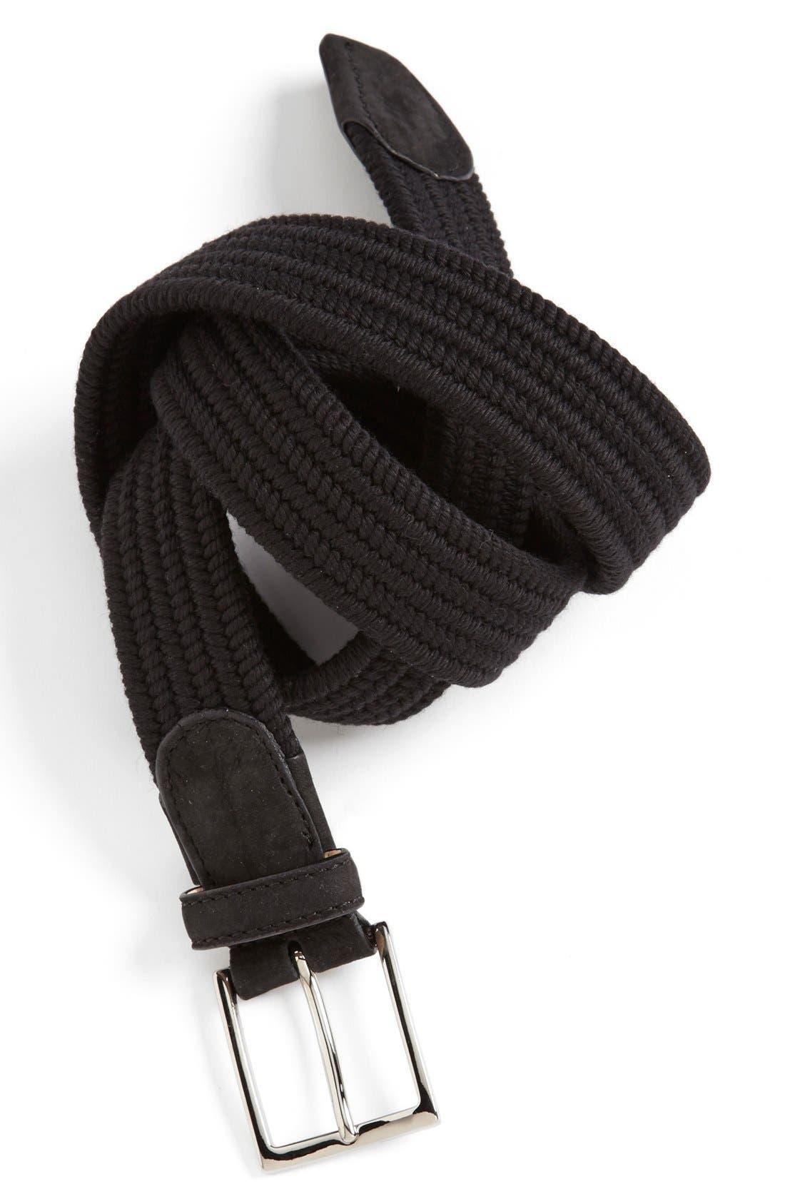 CUISSE DE GRENOUILLE Braided Wool Belt, Main, color, 001