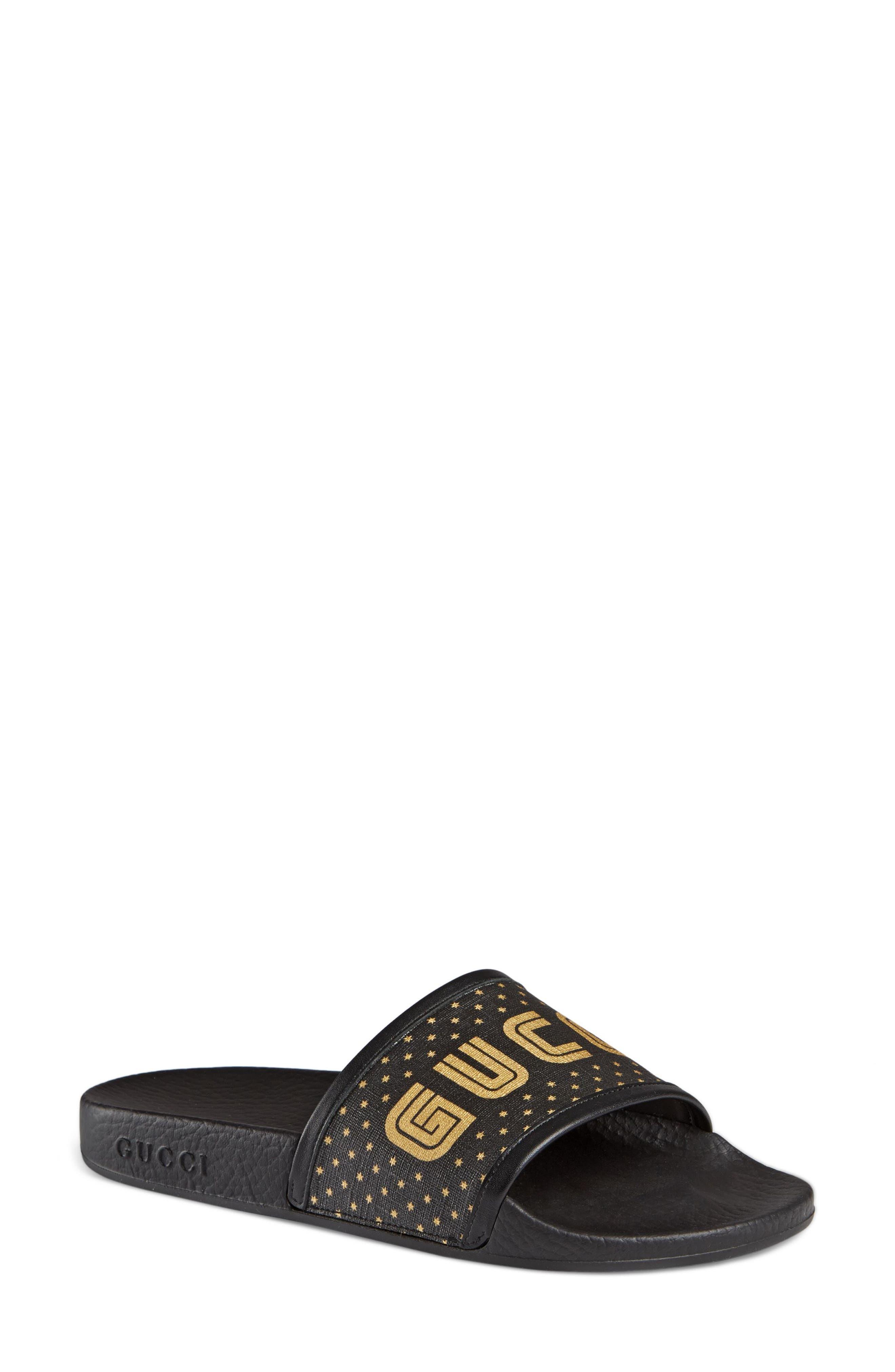GUCCI, Pursuit Guccy Logo Slide Sandal, Main thumbnail 1, color, BLACK