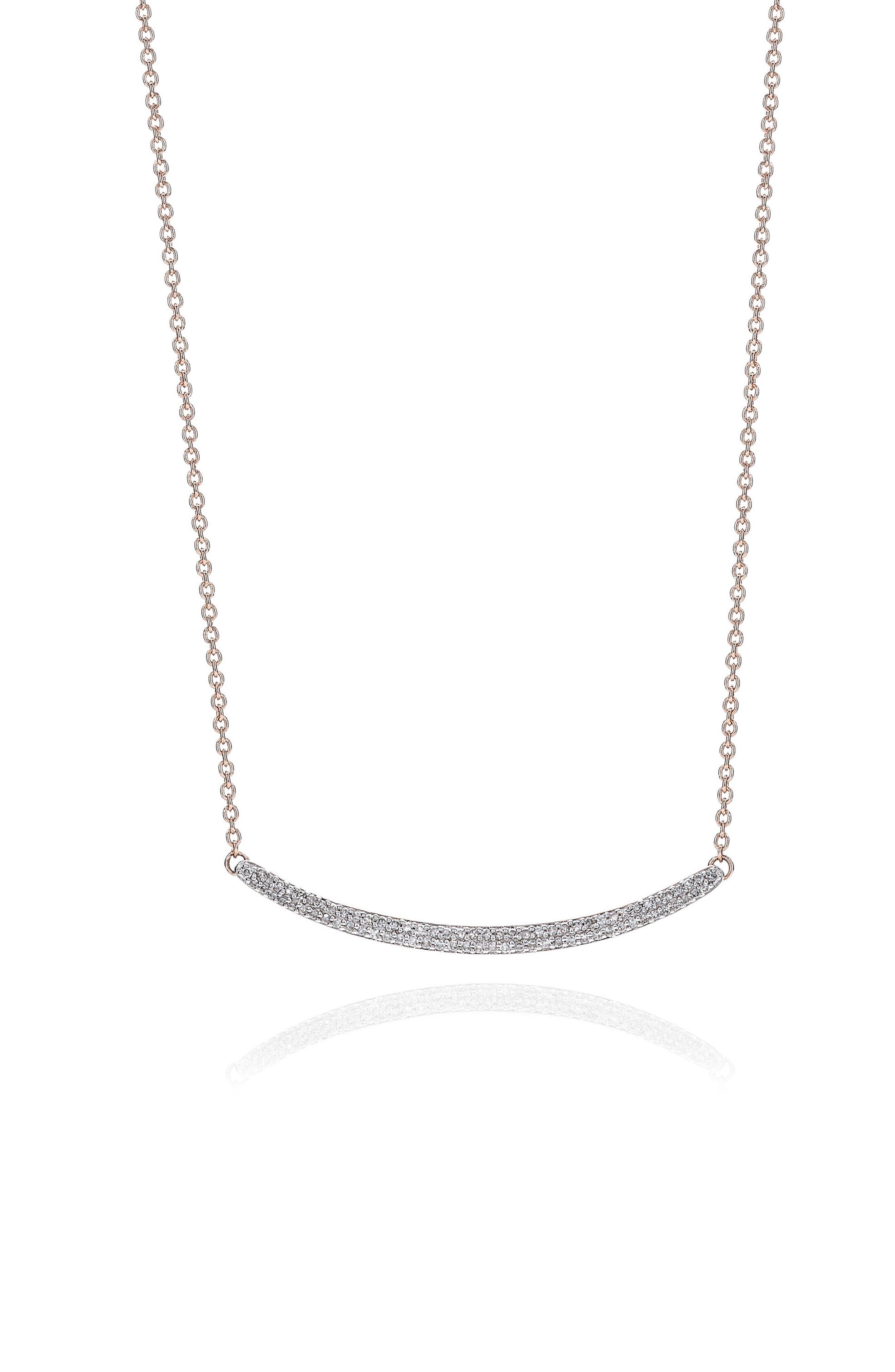 MONICA VINADER, Skinny Diamond Necklace, Main thumbnail 1, color, ROSE GOLD