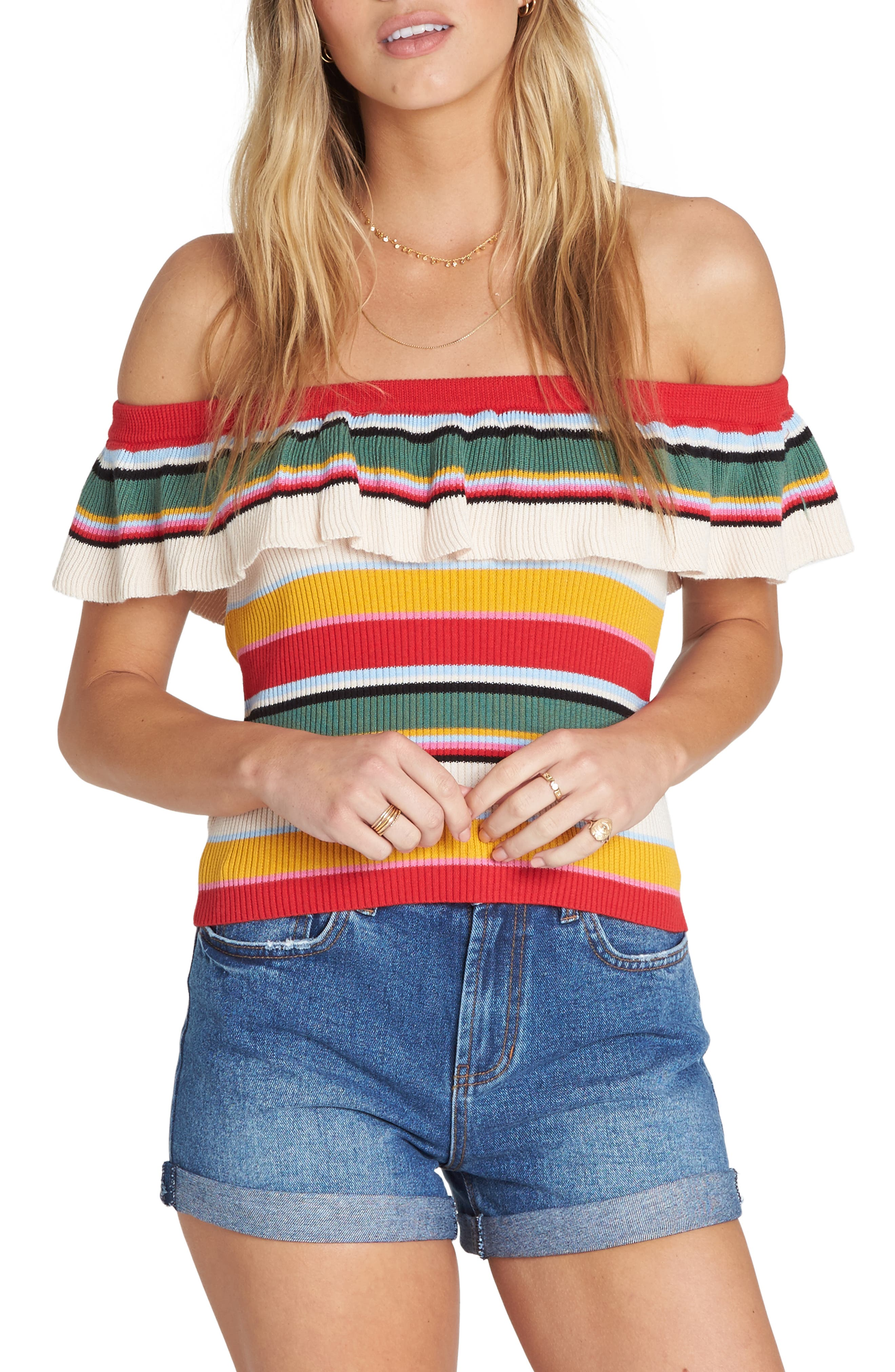 BILLABONG, Take a Trip Off the Shoulder Top, Main thumbnail 1, color, MULTI