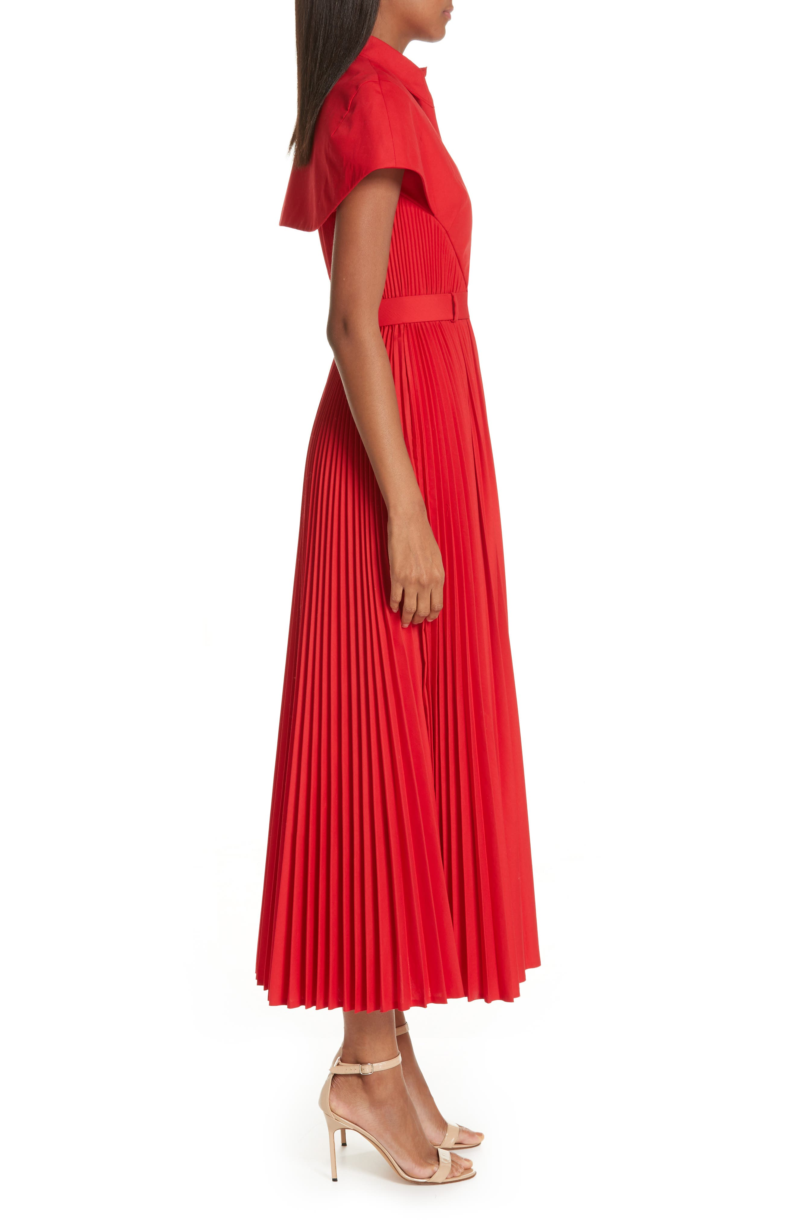 BRANDON MAXWELL, Button Front Pleated Shirtdress, Alternate thumbnail 4, color, RED