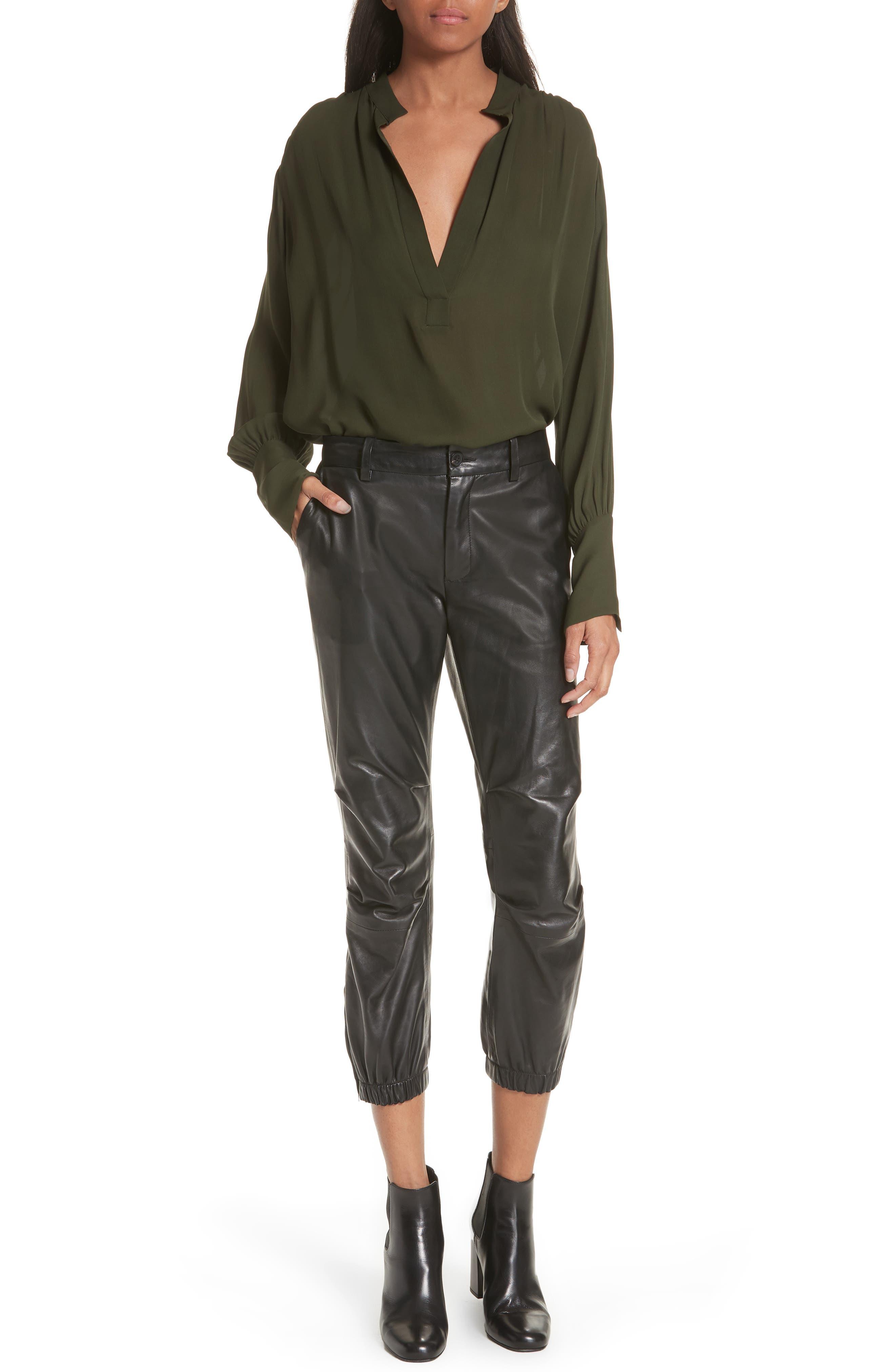NILI LOTAN, French Military Leather Crop Pants, Alternate thumbnail 7, color, BLACK