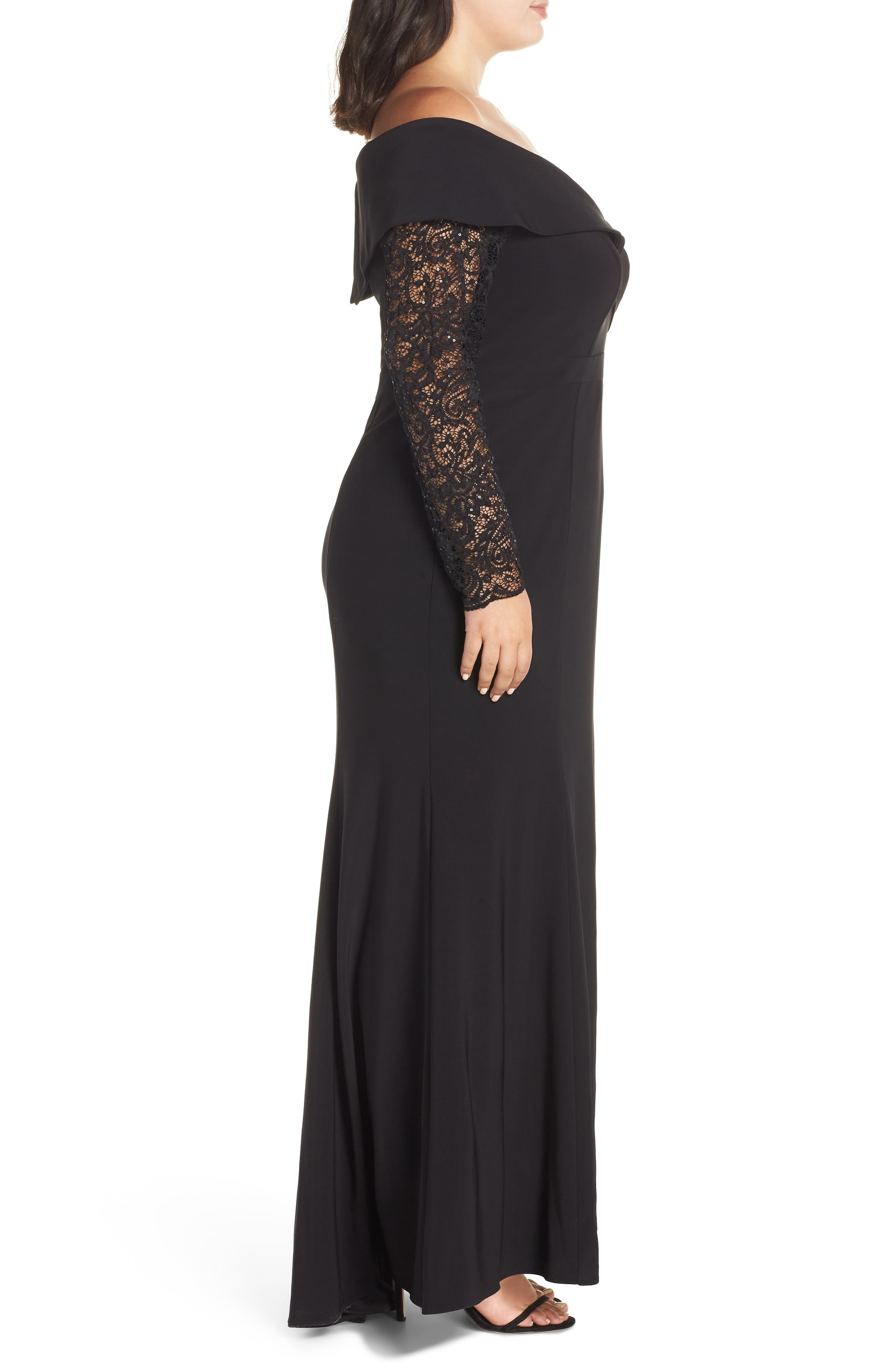 XSCAPE, Off the Shoulder Lace Sleeve Evening Gown, Alternate thumbnail 4, color, BLACK