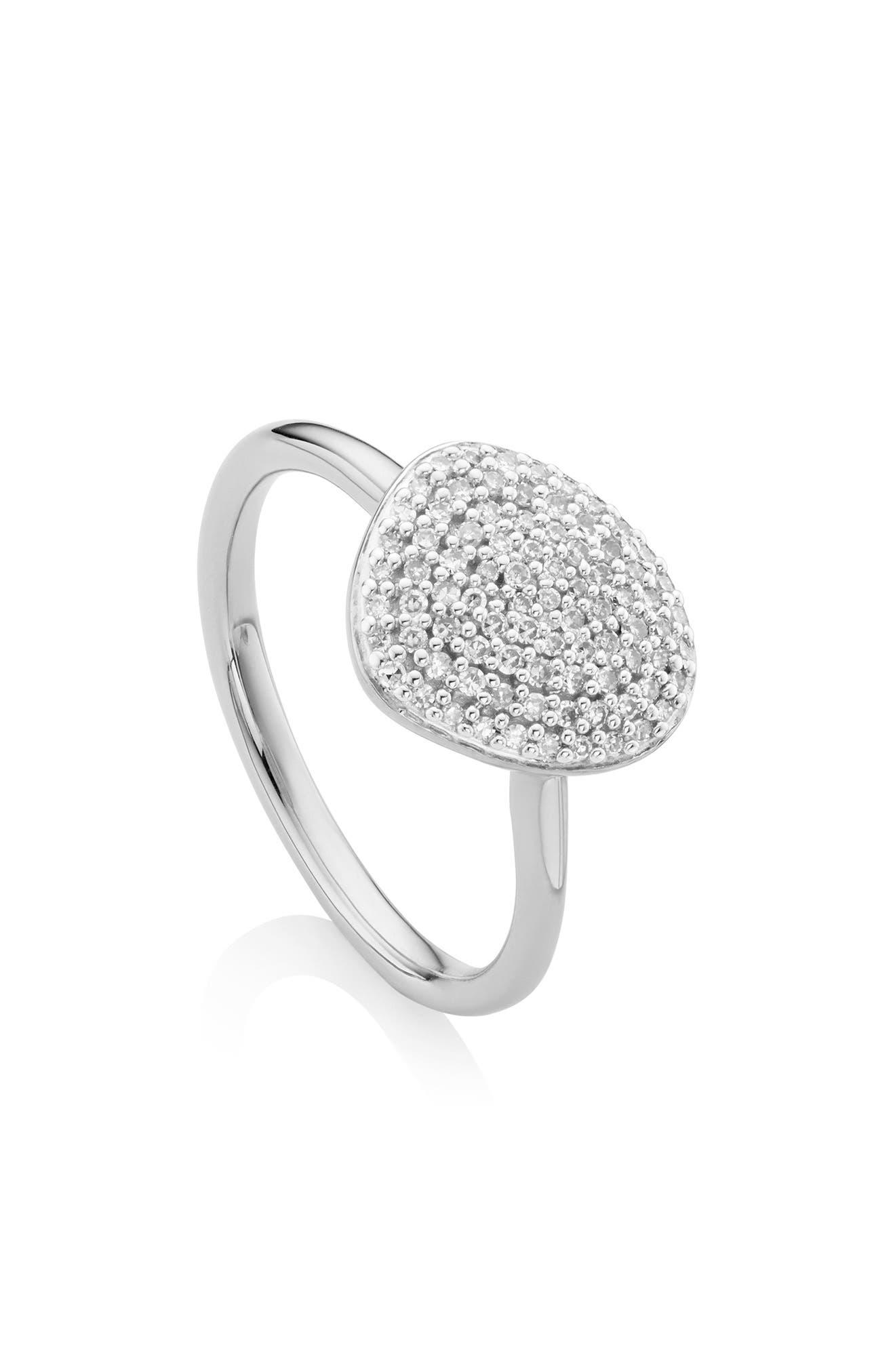 MONICA VINADER, Nura Diamond Pebble Stacking Ring, Main thumbnail 1, color, SILVER/ DIAMOND