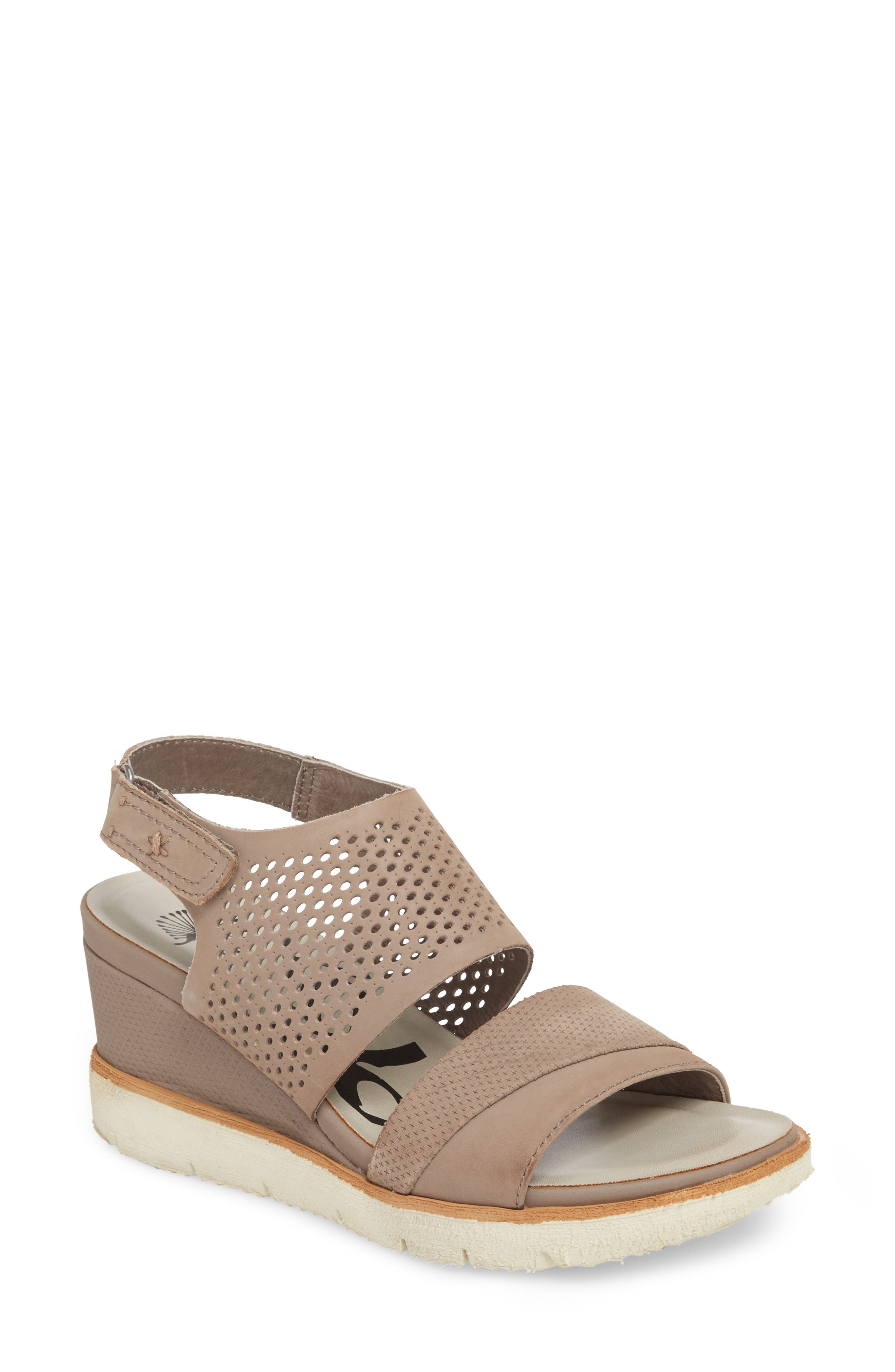 OTBT, Milky Way Wedge Sandal, Main thumbnail 1, color, COCOA LEATHER