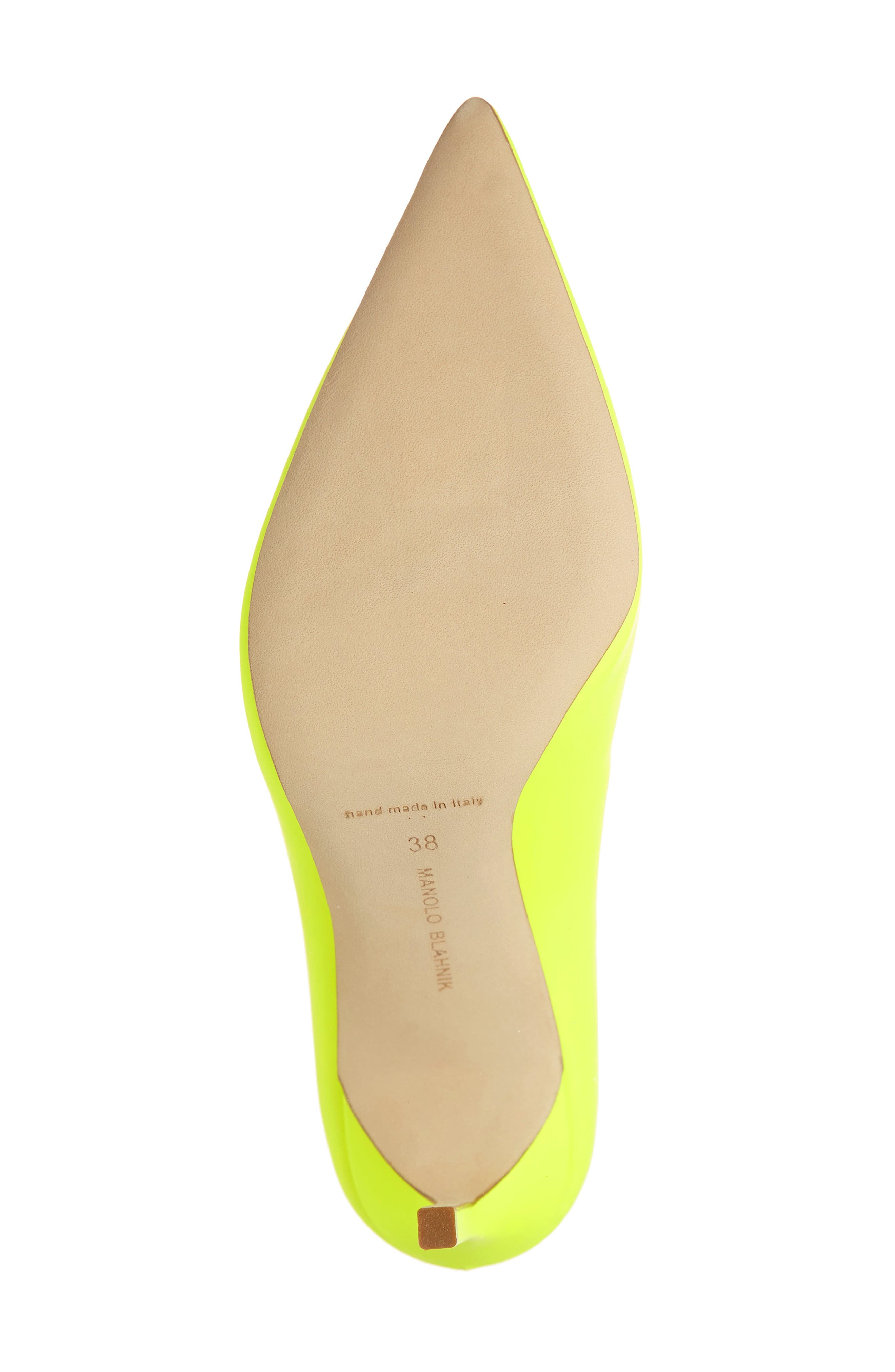 MANOLO BLAHNIK, 'BB' Pointy Toe Pump, Alternate thumbnail 6, color, YELLOW PATENT
