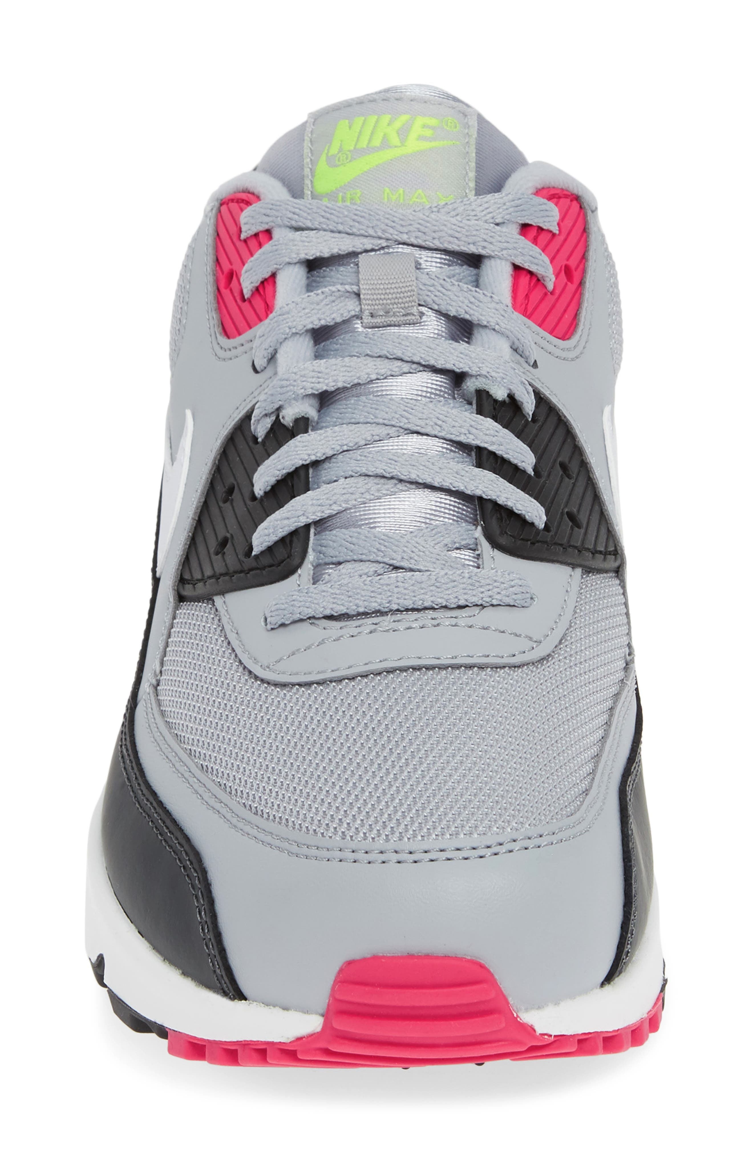 NIKE, Air Max 90 Essential Sneaker, Alternate thumbnail 4, color, WOLF GREY/ WHITE/ PINK