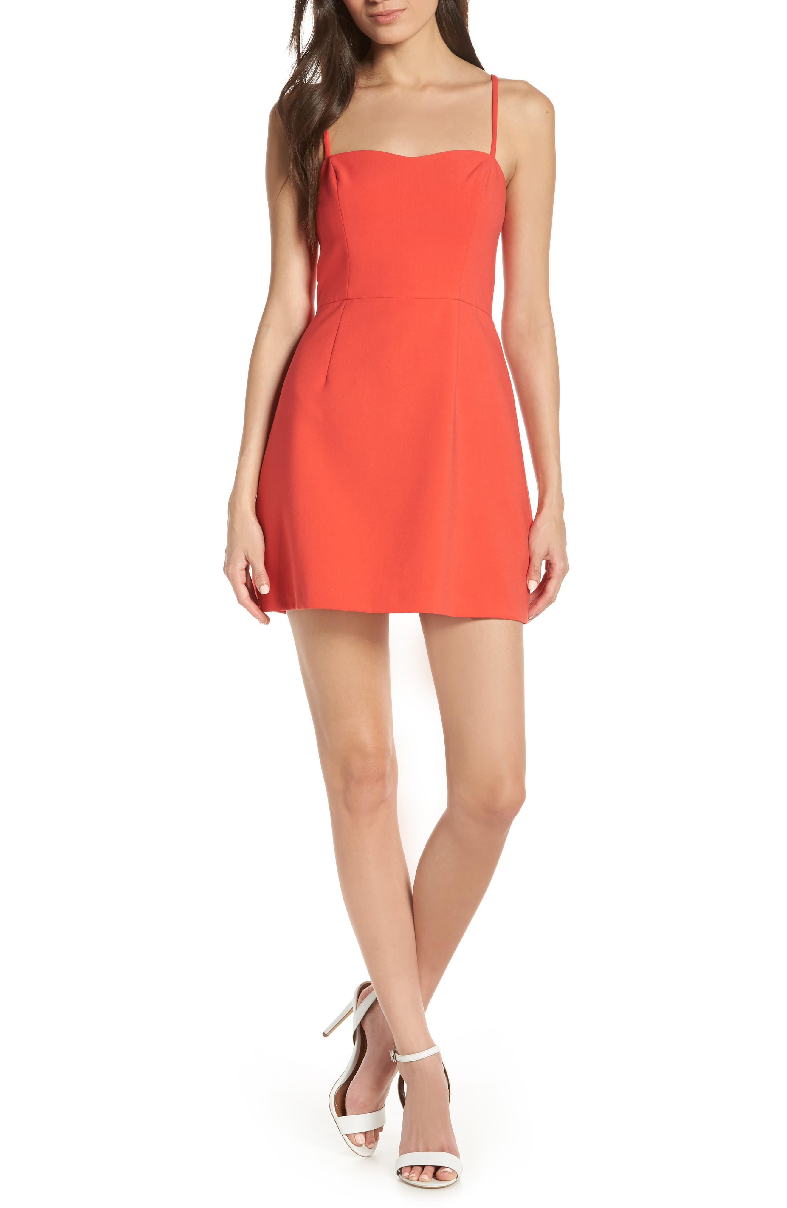 FRENCH CONNECTION, Whisper Light Sweetheart Minidress, Main thumbnail 1, color, FIRE CORAL