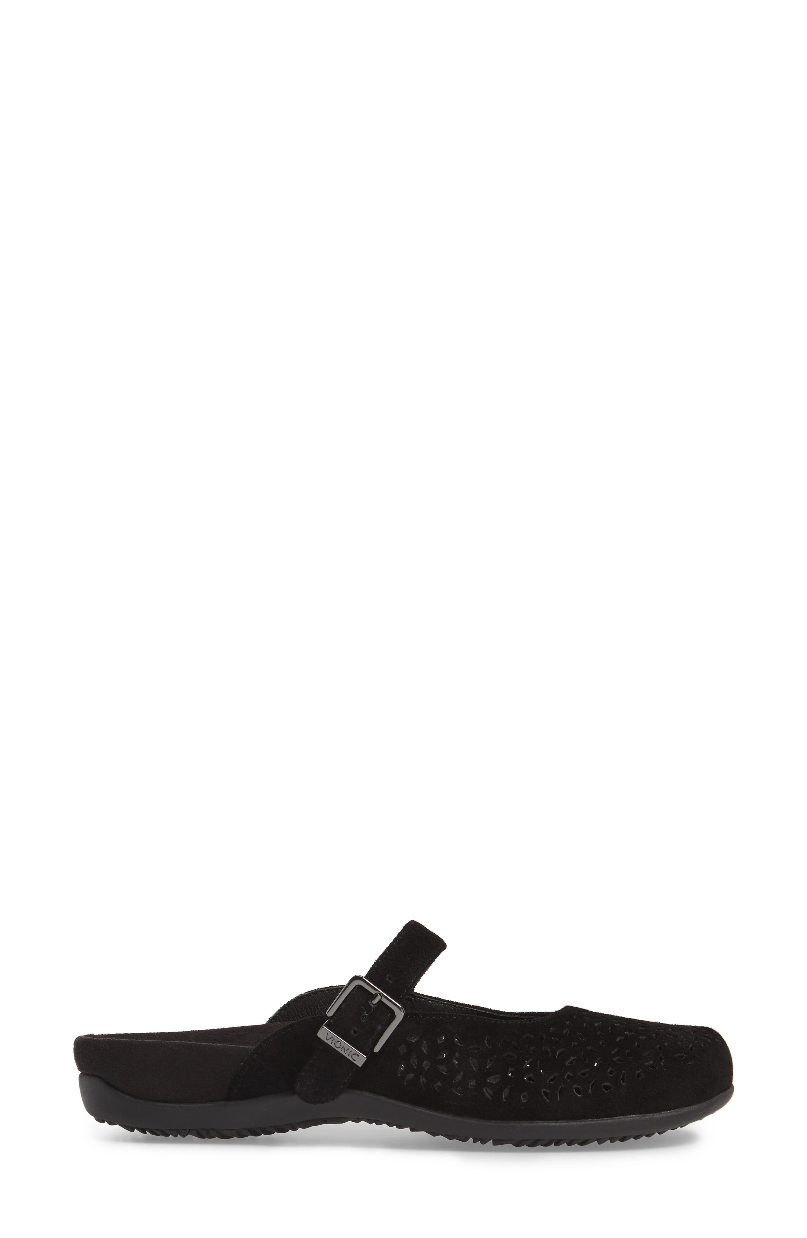 VIONIC, Rest Lidia Perforated Mary Jane Mule, Alternate thumbnail 3, color, BLACK SUEDE