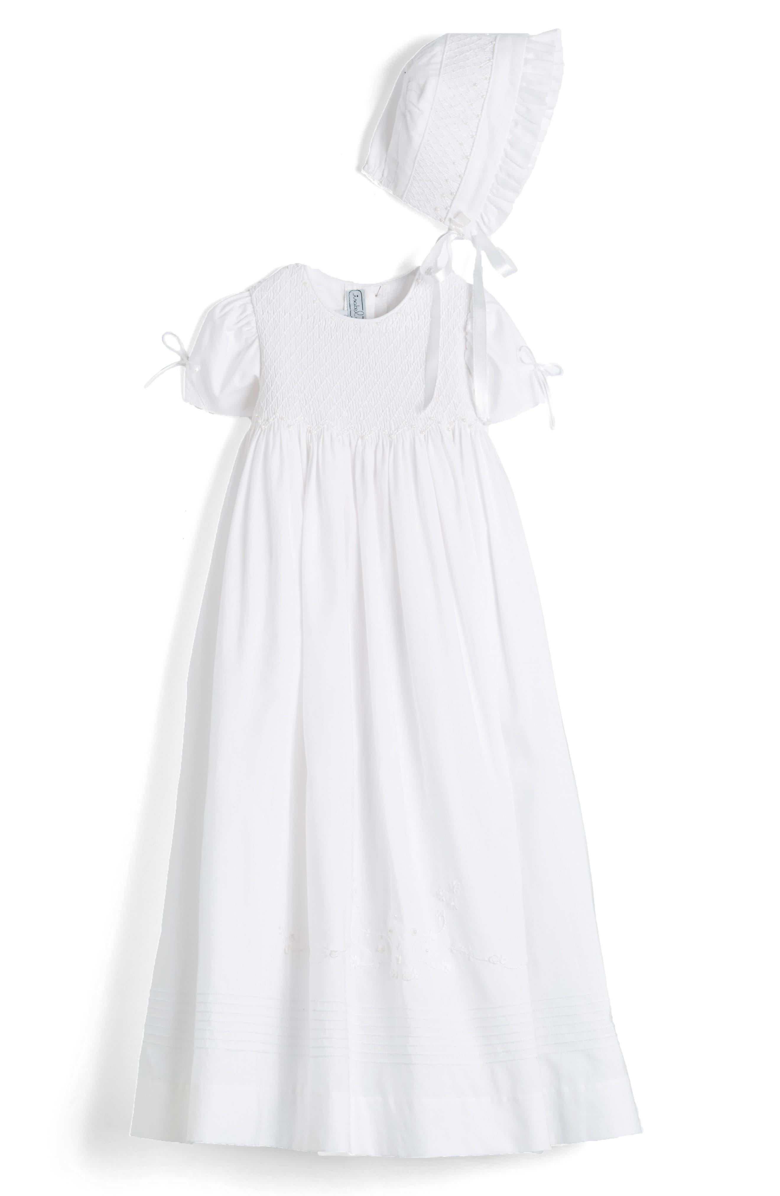 ISABEL GARRETON, 'Pearls' Christening Gown & Bonnet, Alternate thumbnail 5, color, WHITE