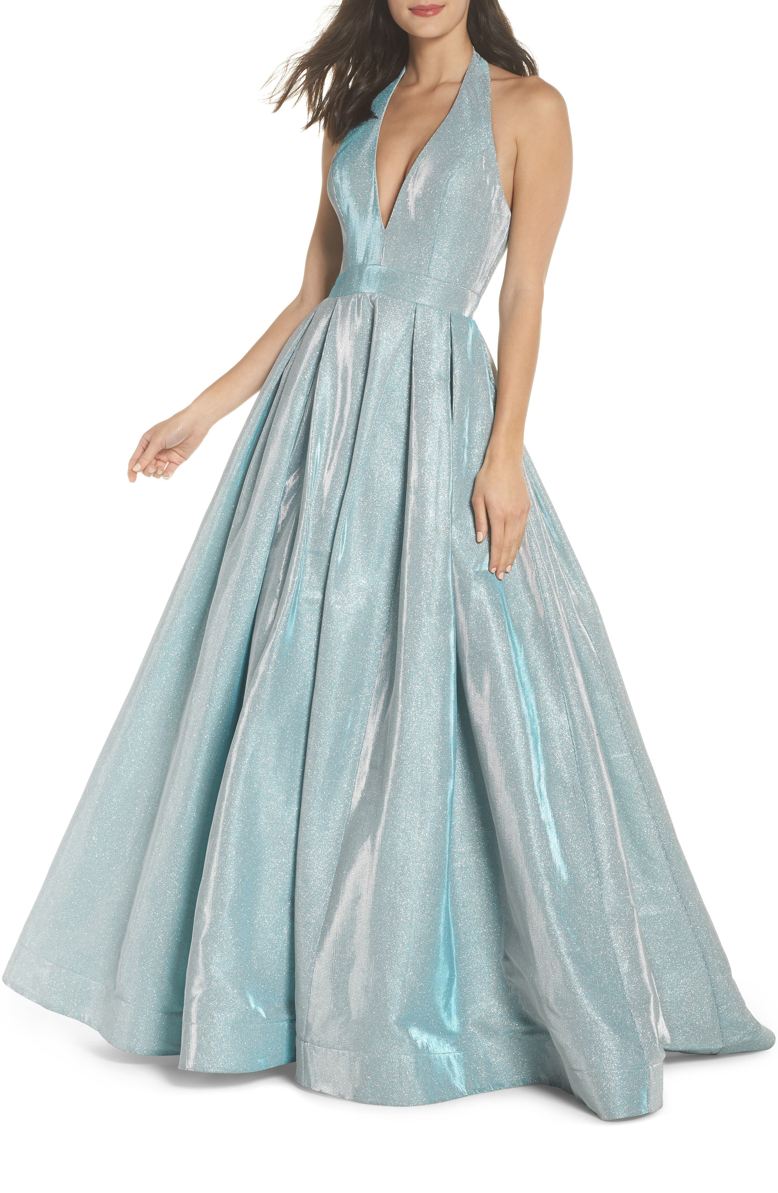 IEENA FOR MAC DUGGAL Mac Duggal Shimmering Halter Neck Ballgown, Main, color, SHIMMERING ICE