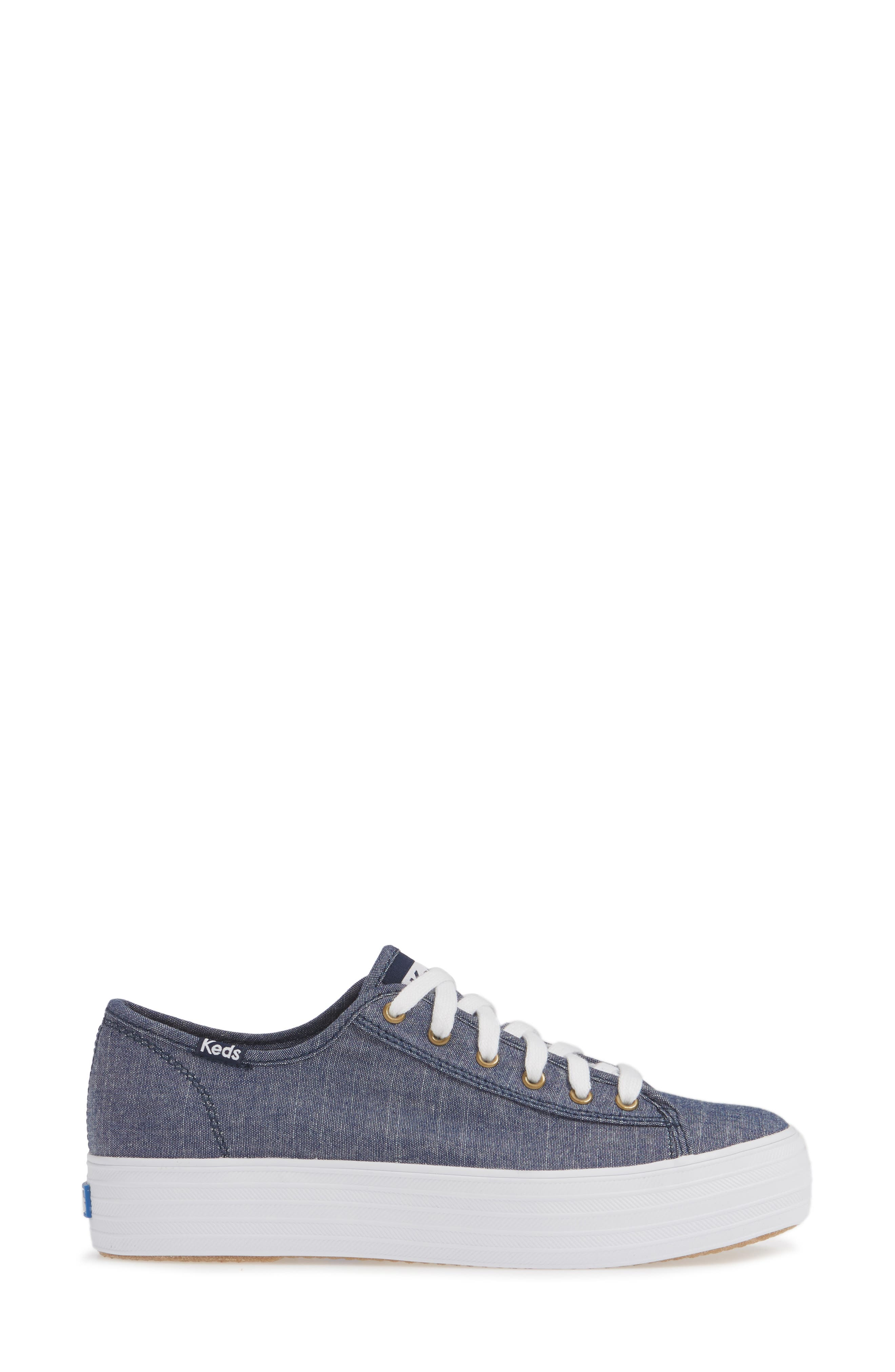 KEDS<SUP>®</SUP>, Triple Kick Platform Chambray Sneaker, Alternate thumbnail 3, color, BLUE