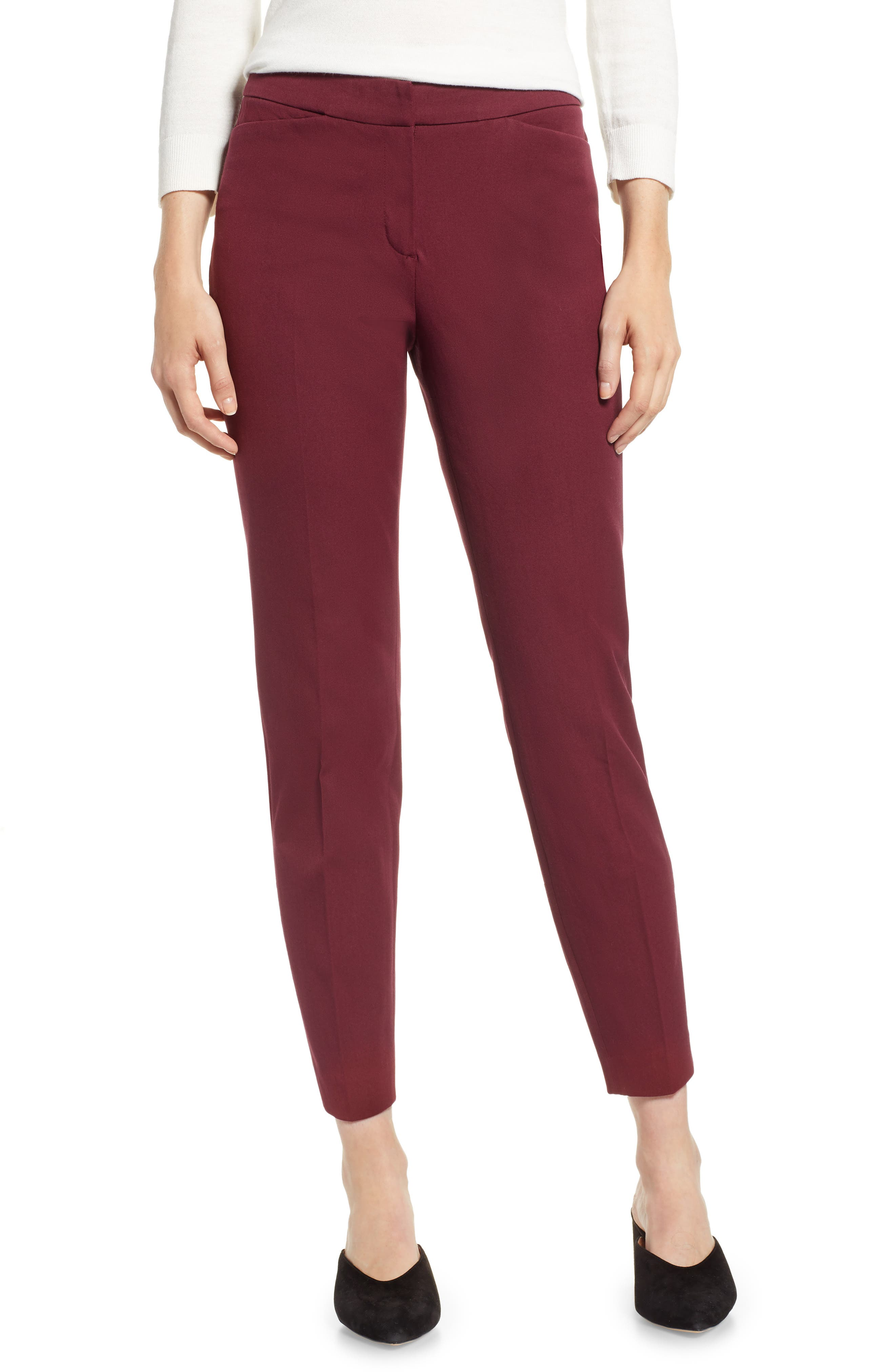 HALOGEN<SUP>®</SUP>, Ankle Pants, Main thumbnail 1, color, RED TANNIN