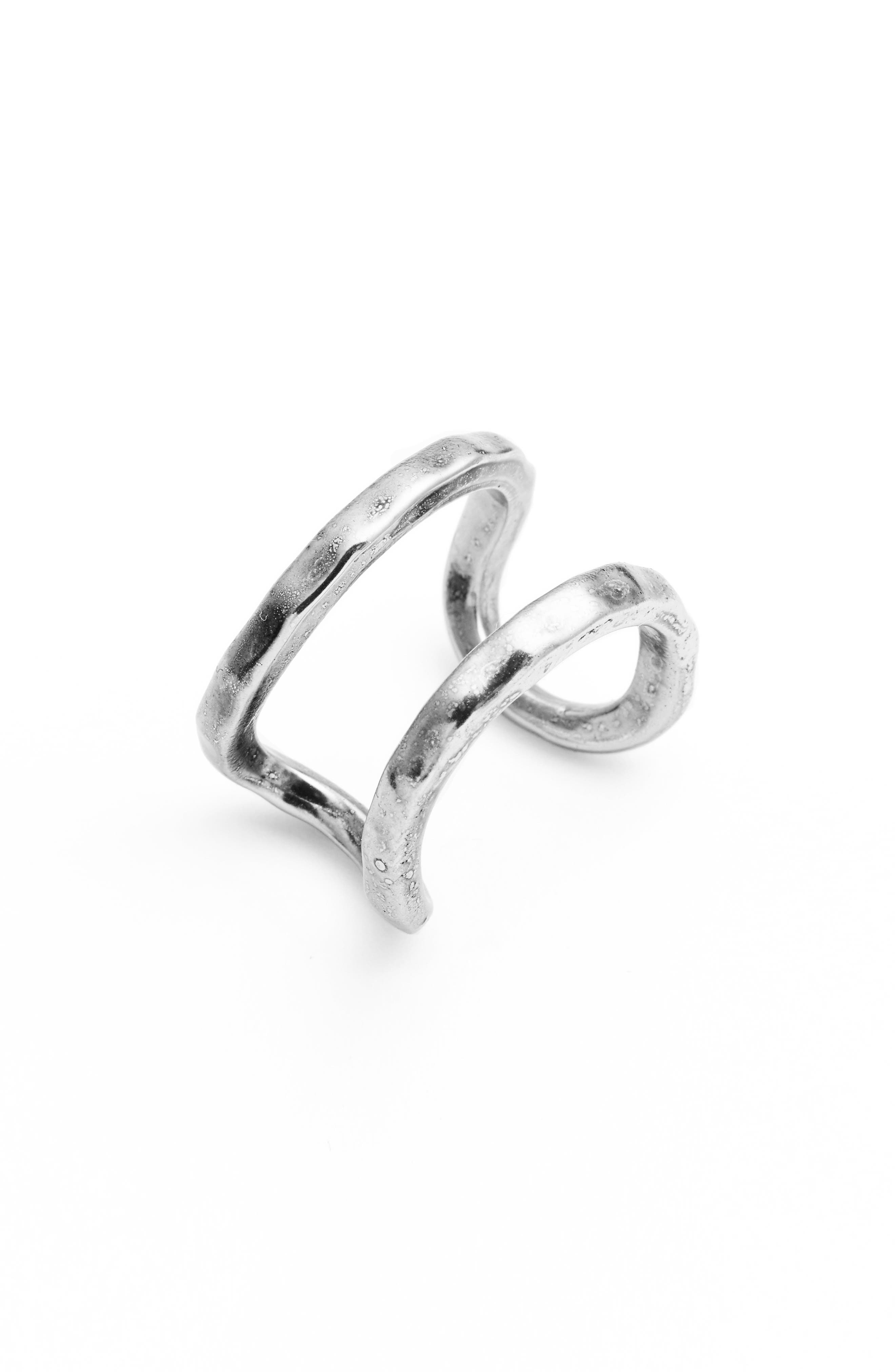 KARINE SULTAN, Adjustable Openwork Ring, Main thumbnail 1, color, SILVER