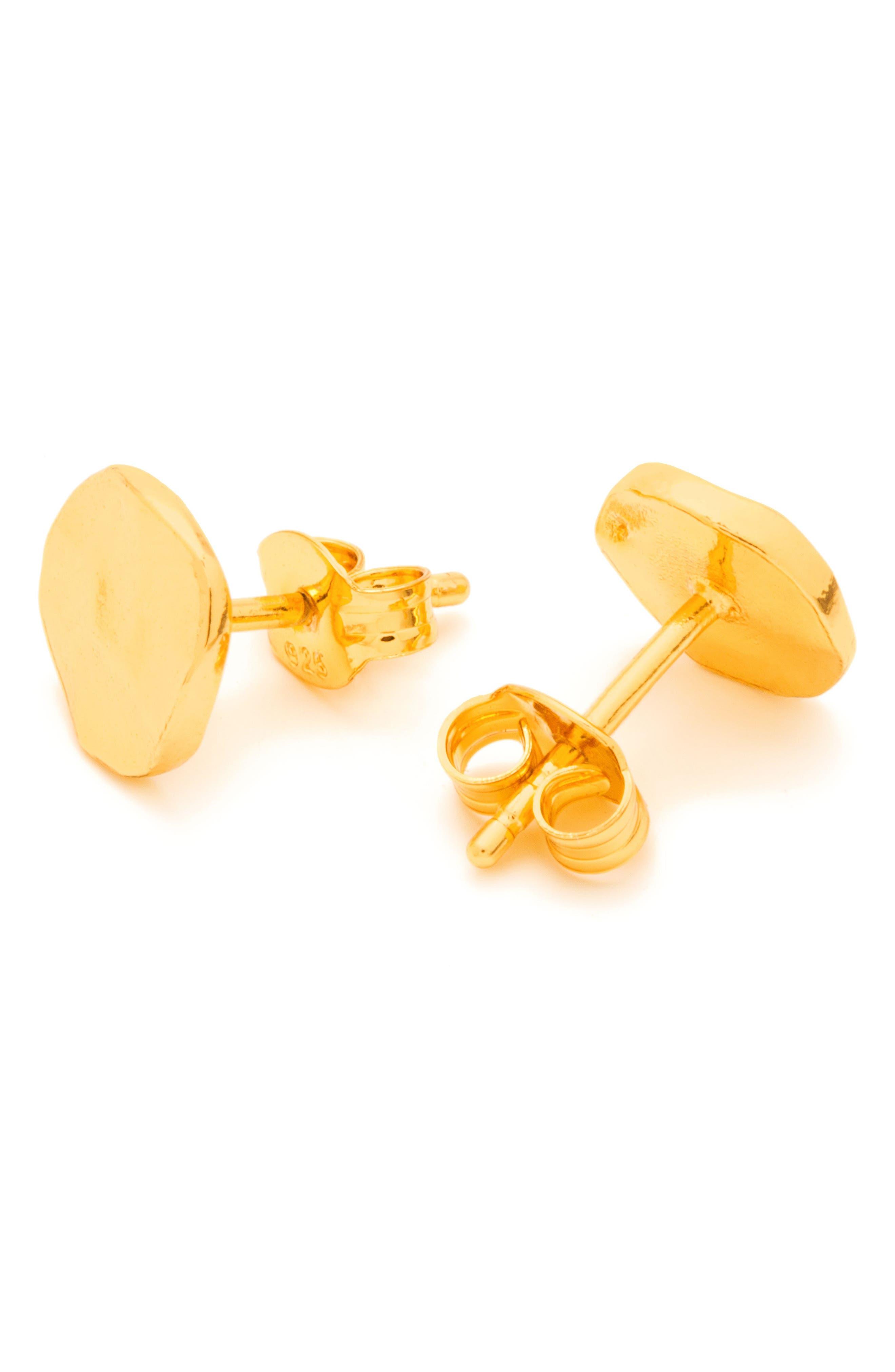 GORJANA, 'Chloe' Small Stud Earrings, Alternate thumbnail 8, color, GOLD