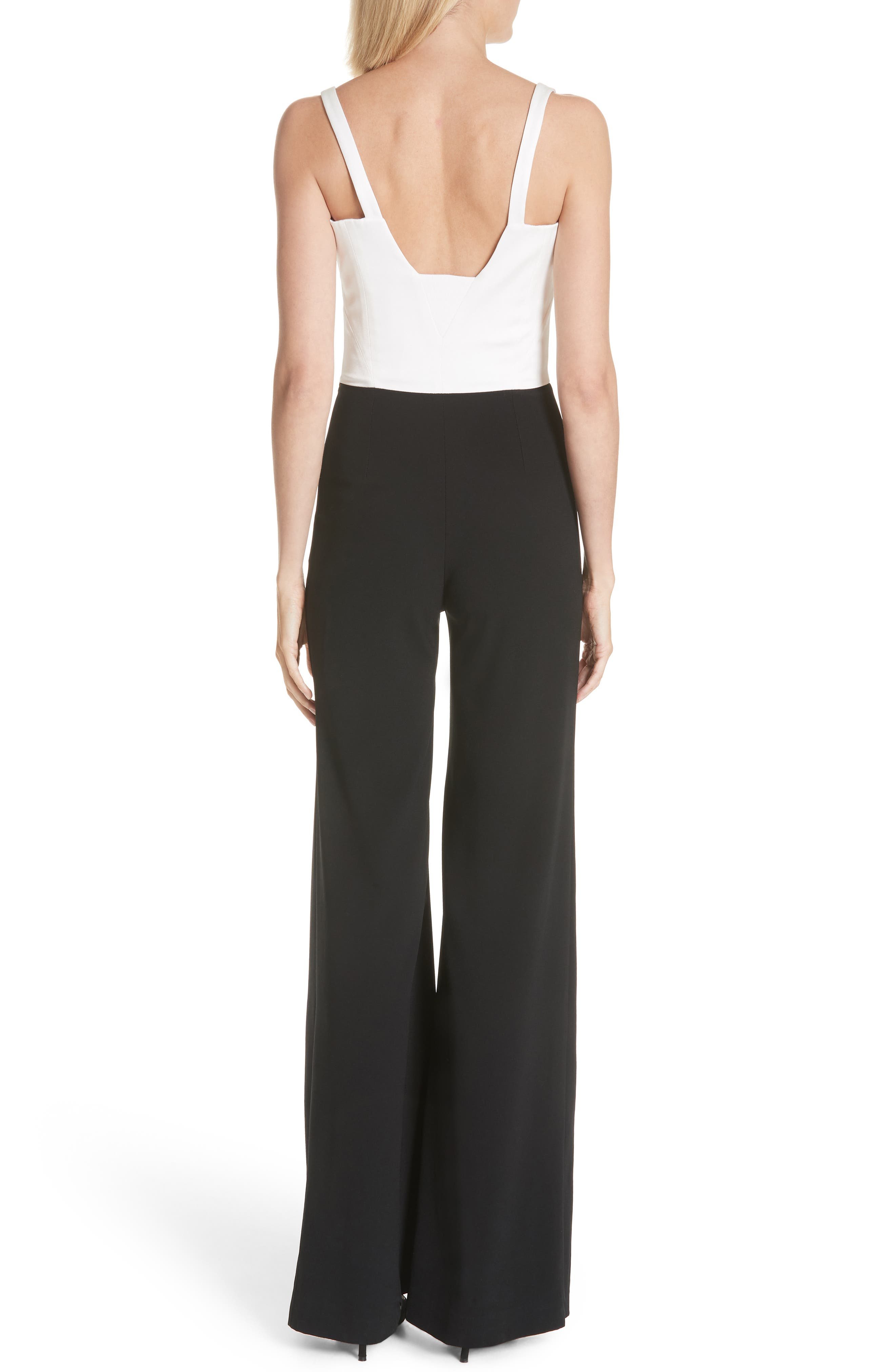 GALVAN, Eclipse Satin & Matte Crepe Jumpsuit, Alternate thumbnail 2, color, WHITE/ BLACK