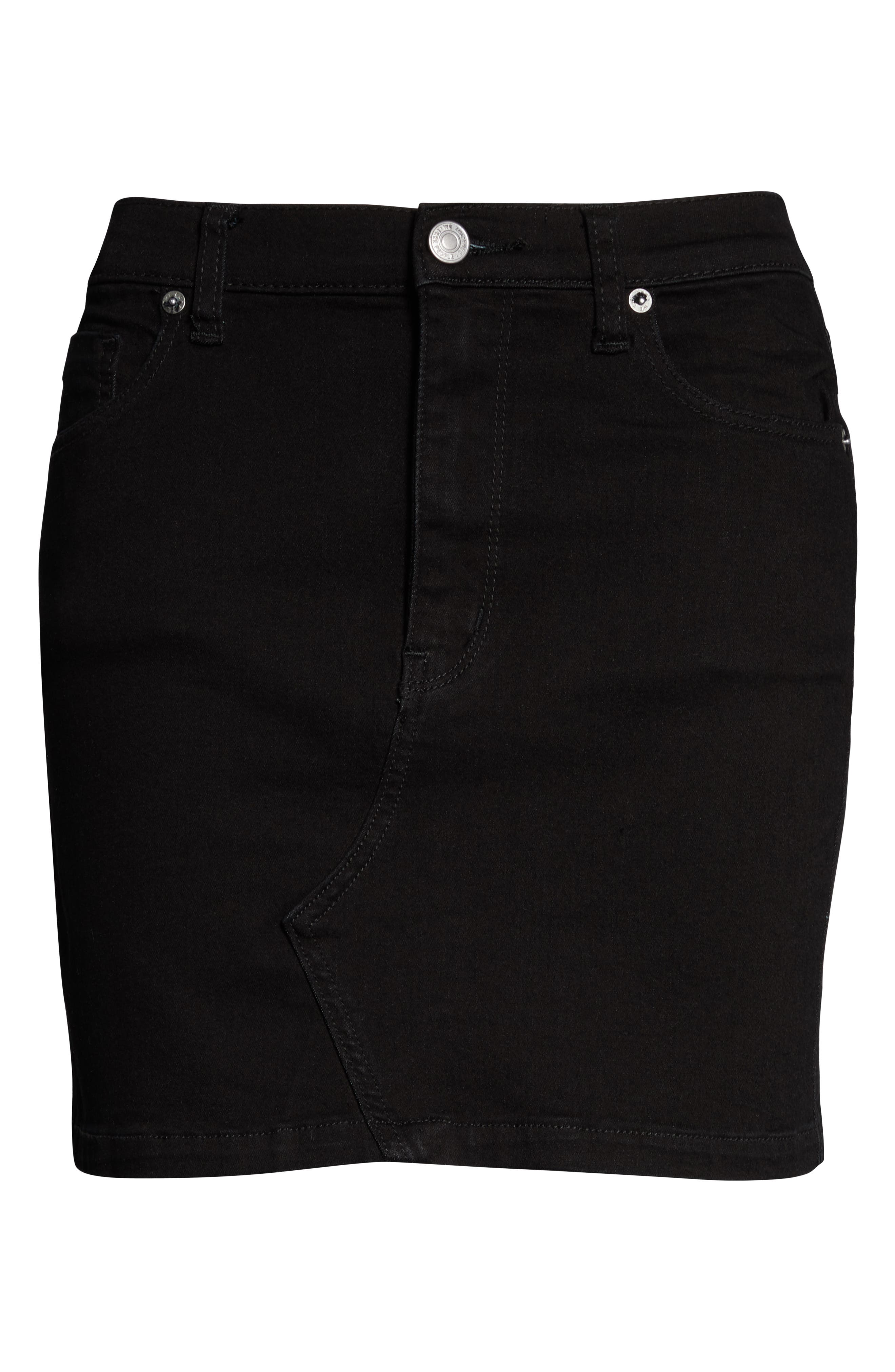 FREE PEOPLE, Teagan Denim Miniskirt, Alternate thumbnail 6, color, BLACK