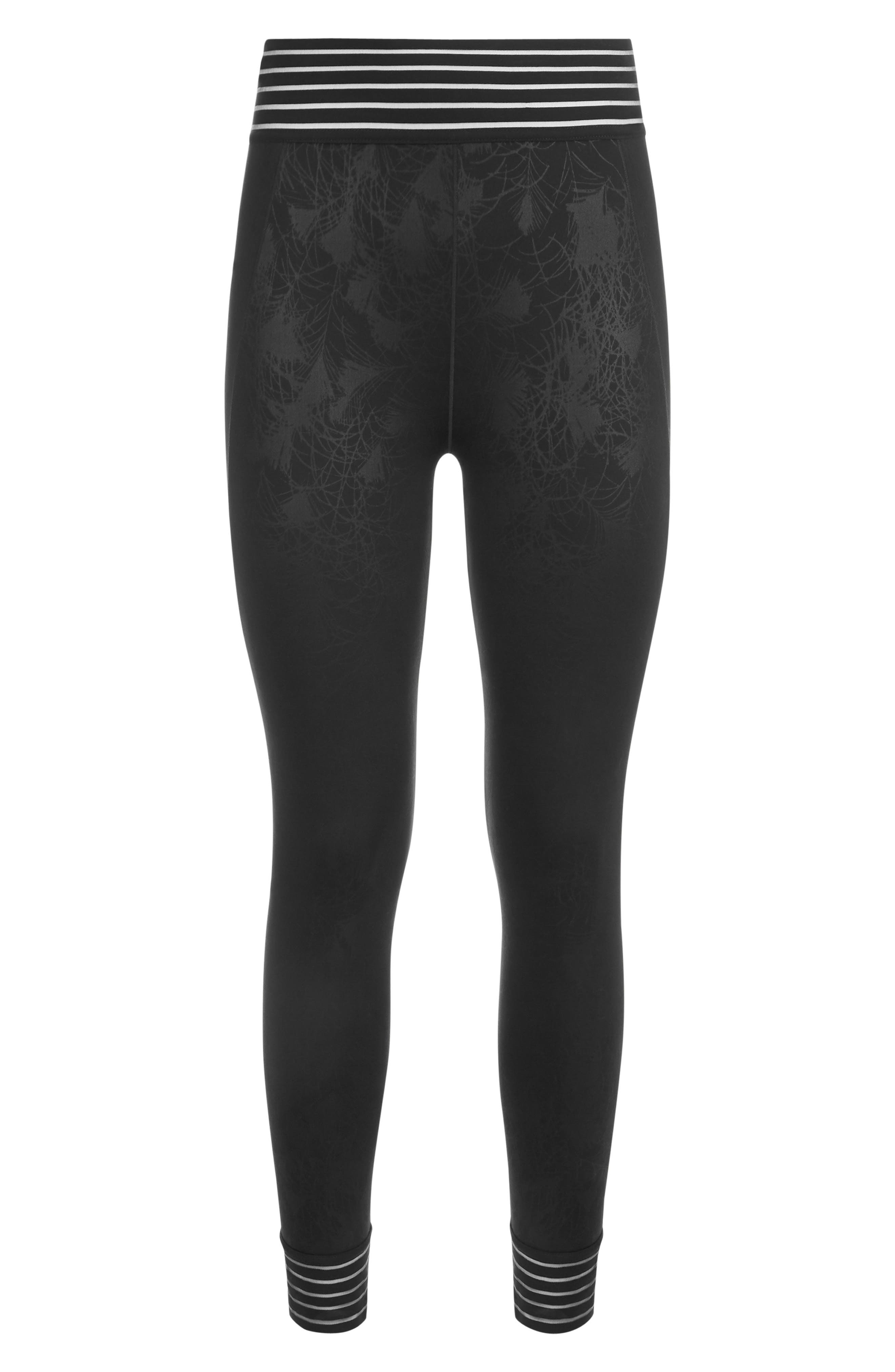 SWEATY BETTY, Contour Leggings, Alternate thumbnail 5, color, BLACK EMBOSSED FEATHER