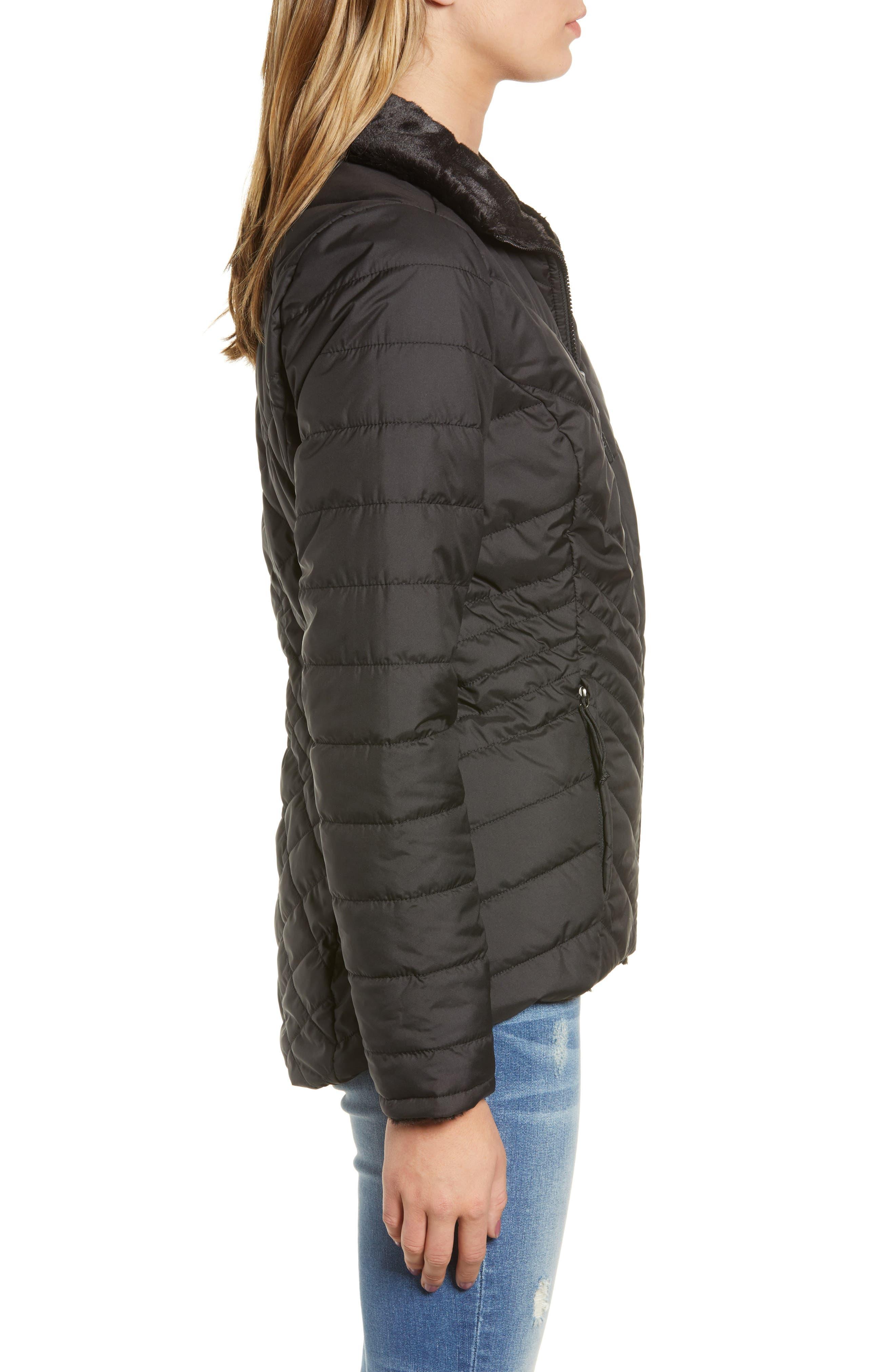 THE NORTH FACE, Mossbud Reversible Heatseeker<sup>™</sup> Wind Resistant Jacket, Alternate thumbnail 4, color, TNF BLACK