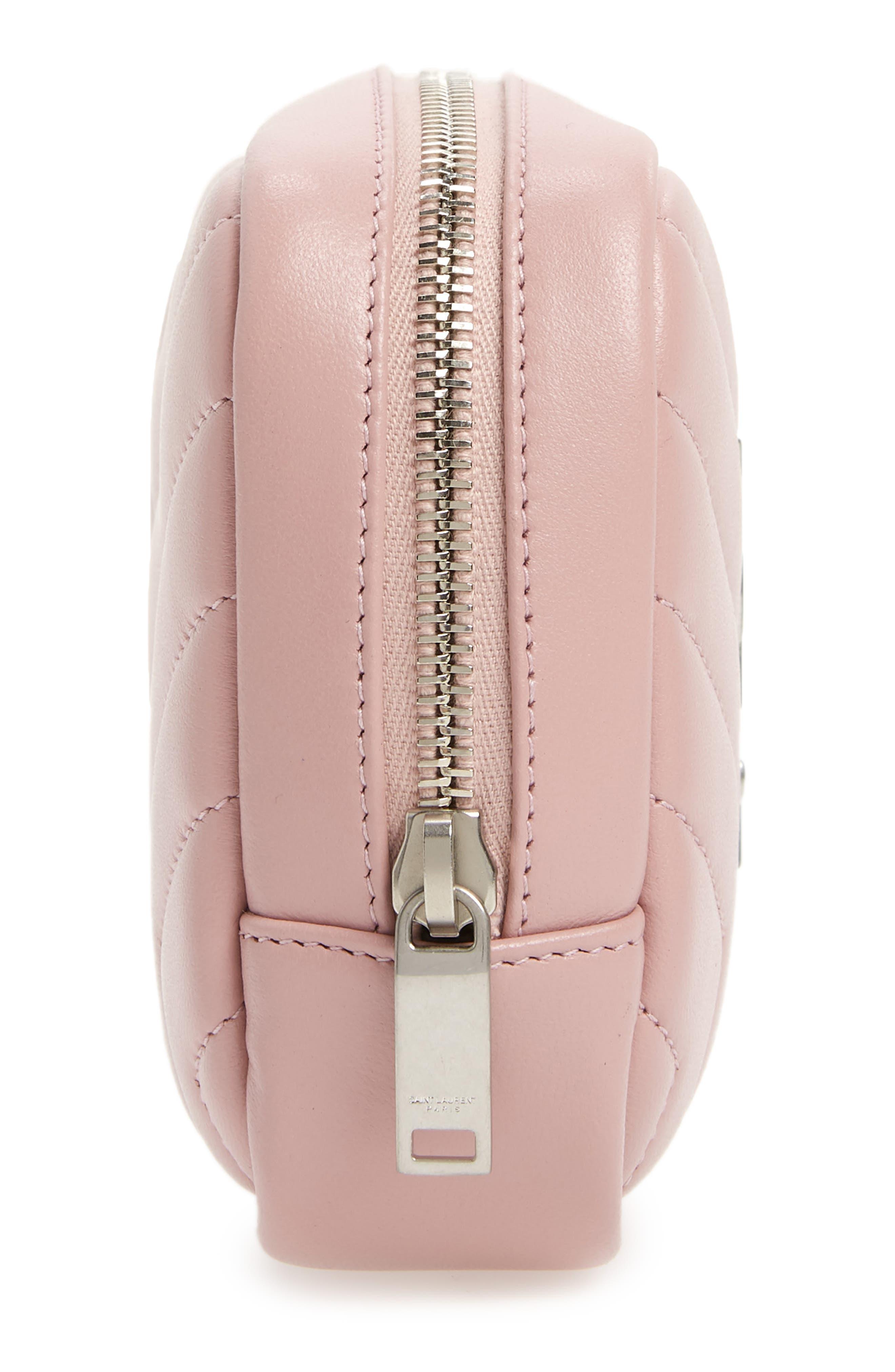 SAINT LAURENT, Loulou Matelassé Leather Cosmetics Bag, Alternate thumbnail 4, color, TENDER PINK