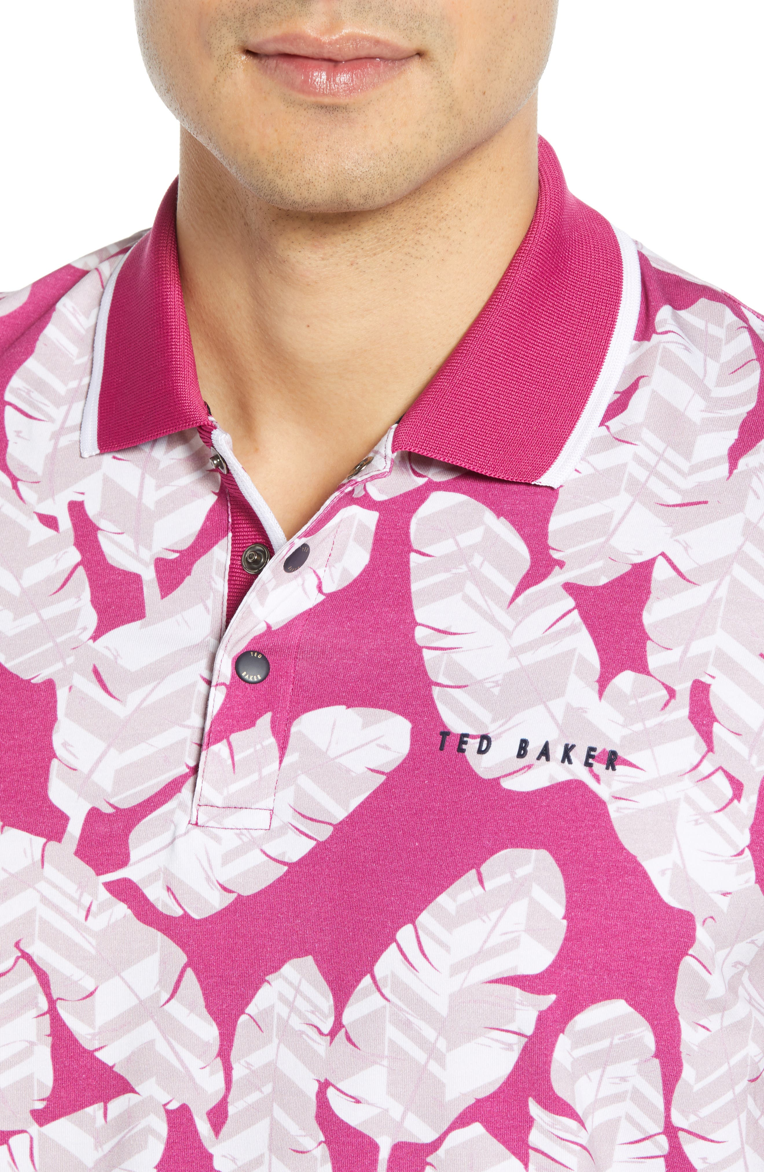 TED BAKER LONDON, Peacan Golf Polo, Alternate thumbnail 4, color, PINK