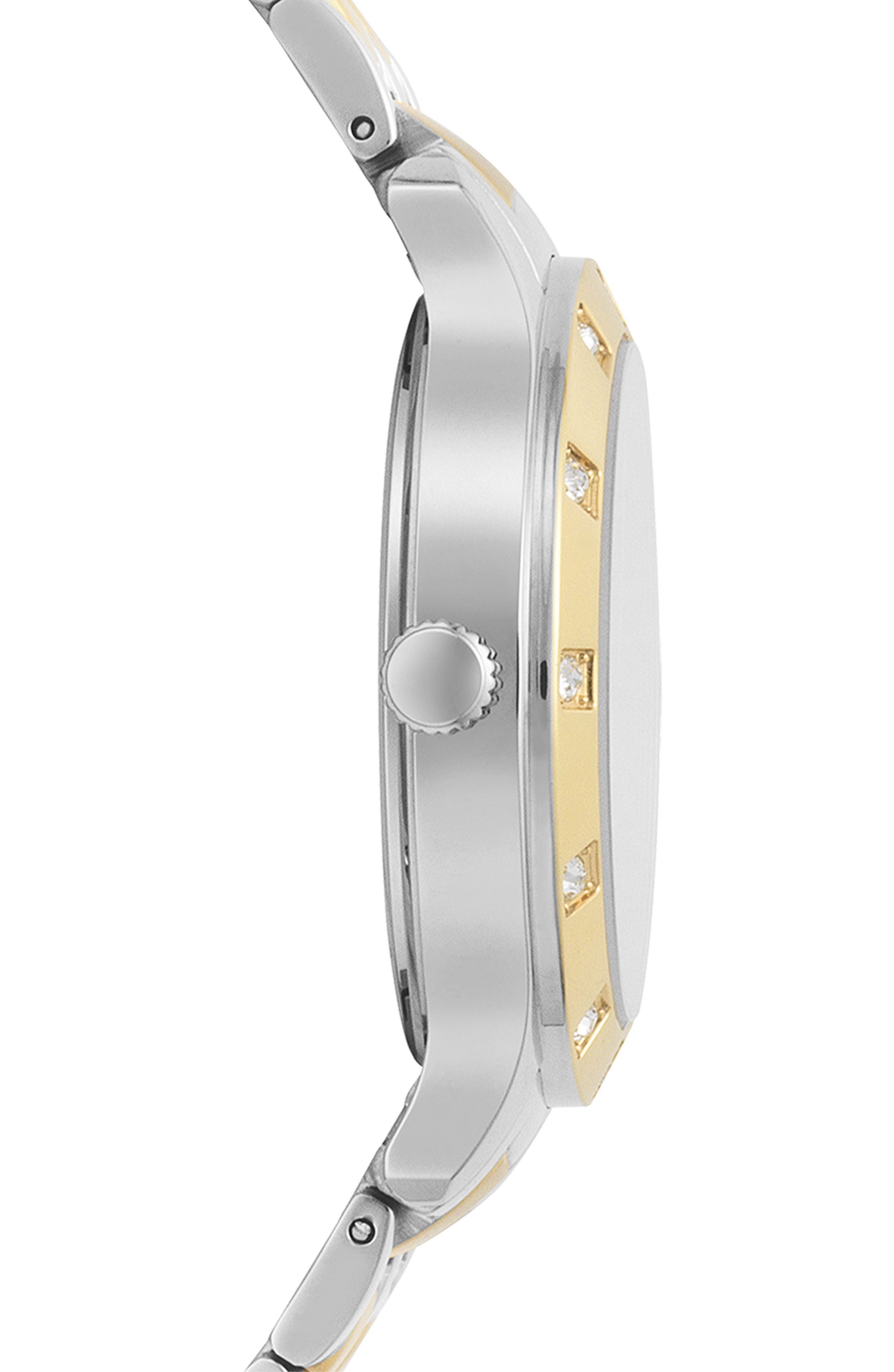VERSUS VERSACE, Brackenfell Swarovski Bracelet Watch, 38mm, Alternate thumbnail 2, color, GOLD/ SILVER