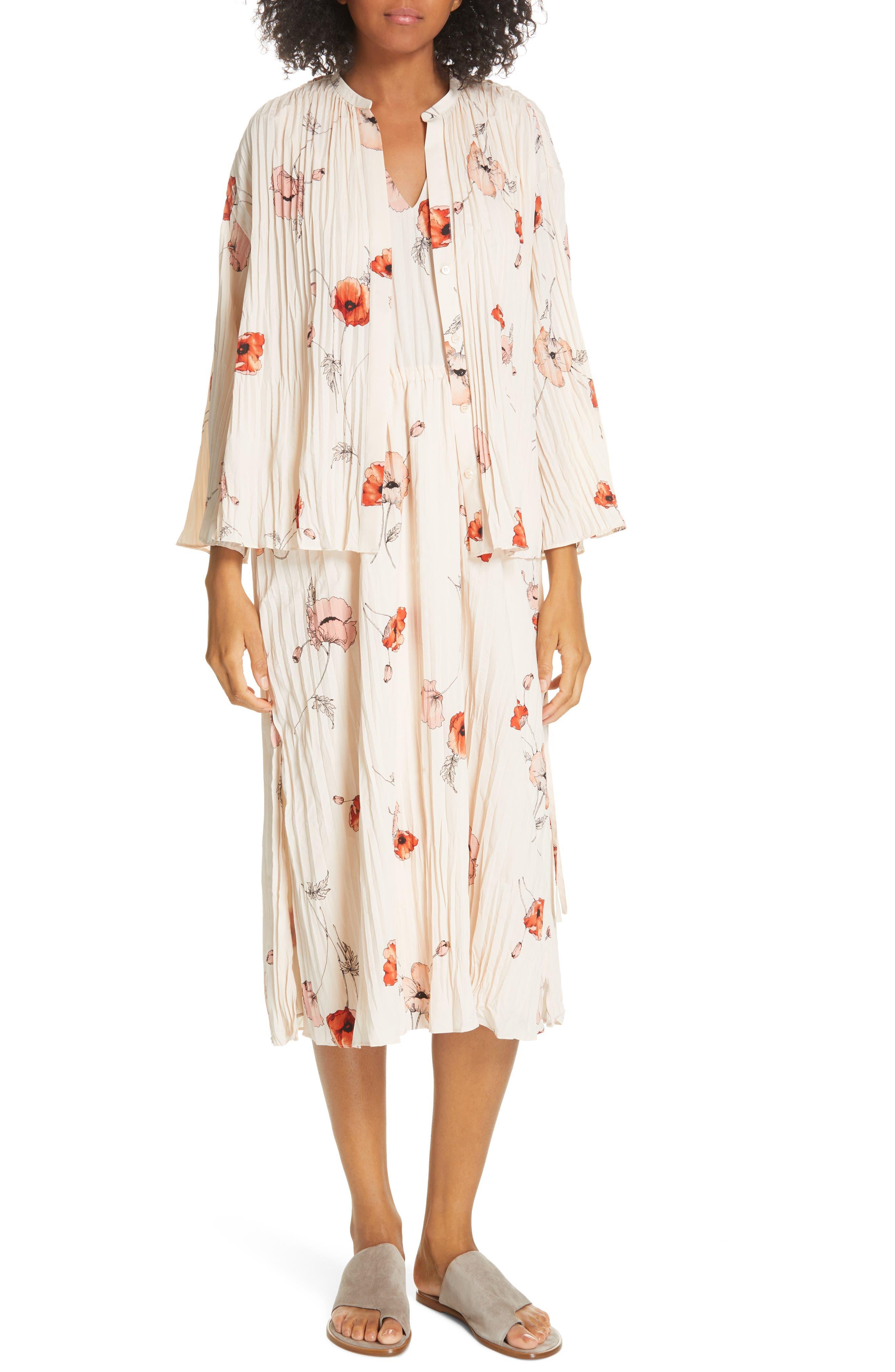 VINCE, Tossed Poppy Pleated Midi Dress, Alternate thumbnail 8, color, PALE BLUSH