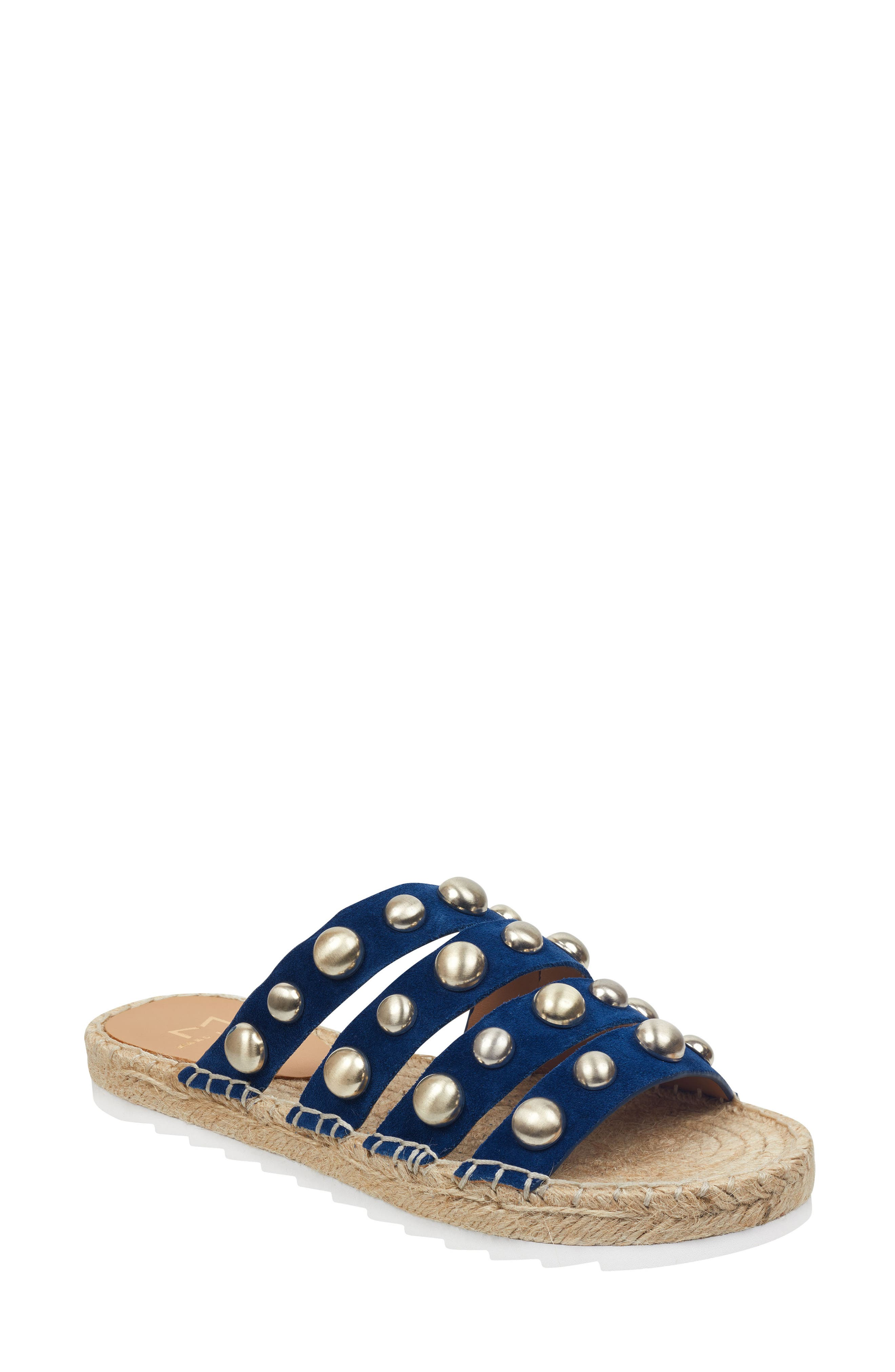 Marc Fisher Ltd Brandie Strappy Studded Slide Sandal, Blue