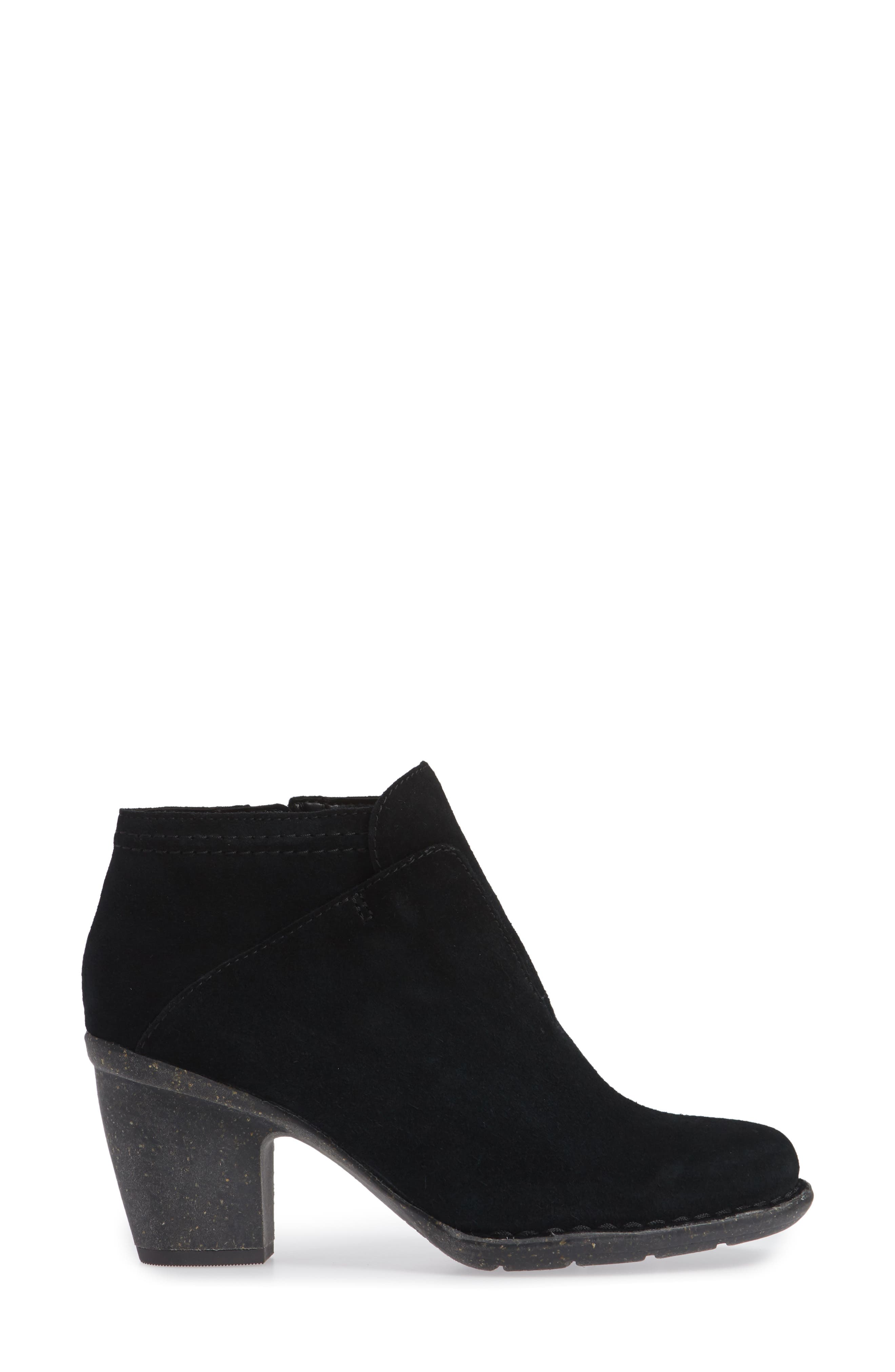 CLARKS<SUP>®</SUP>, Carleta York Bootie, Alternate thumbnail 3, color, BLACK SUEDE