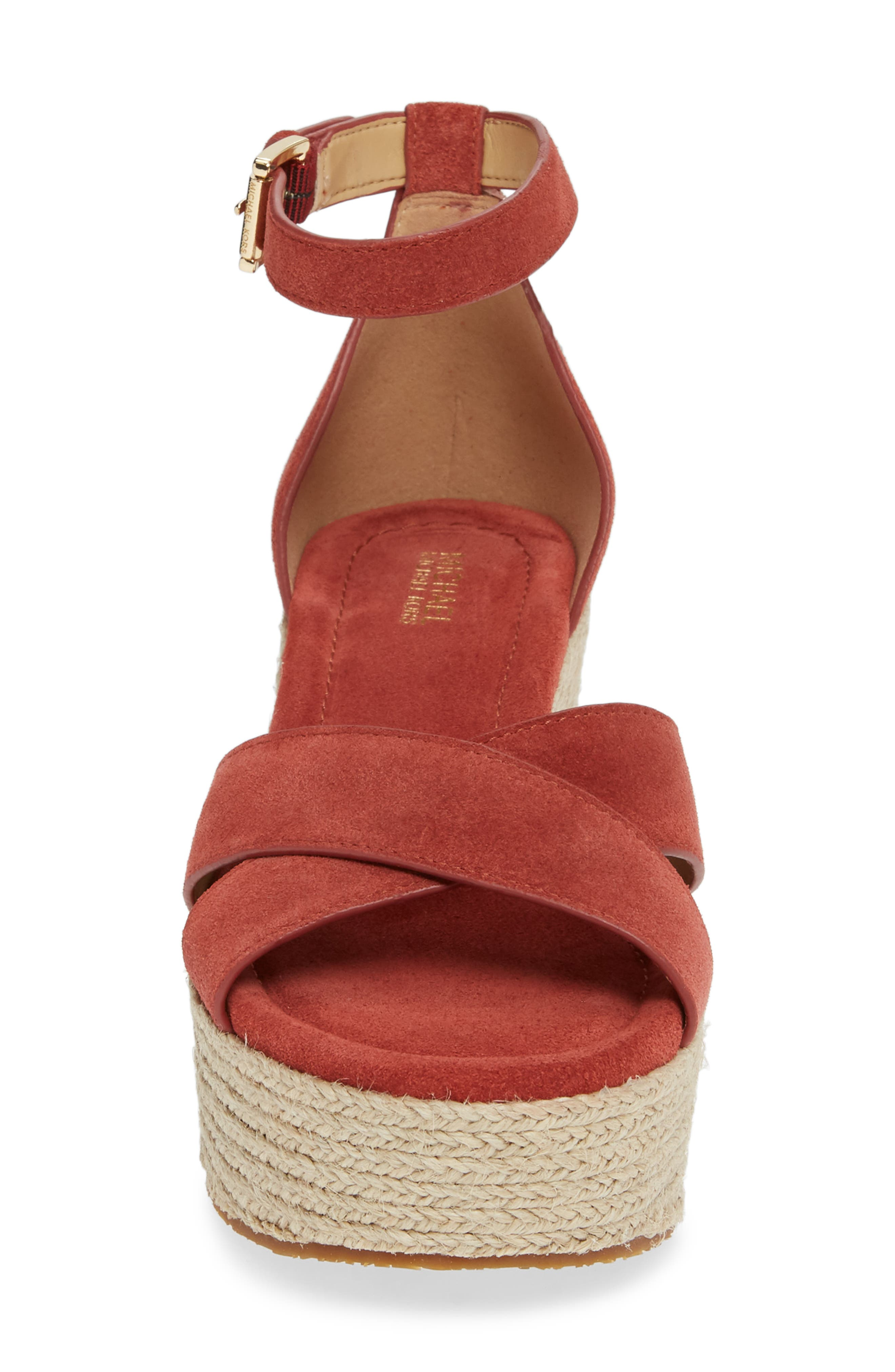 MICHAEL MICHAEL KORS, Desiree Jute Espadrille Wedge, Alternate thumbnail 4, color, TERRACOTTA SUEDE