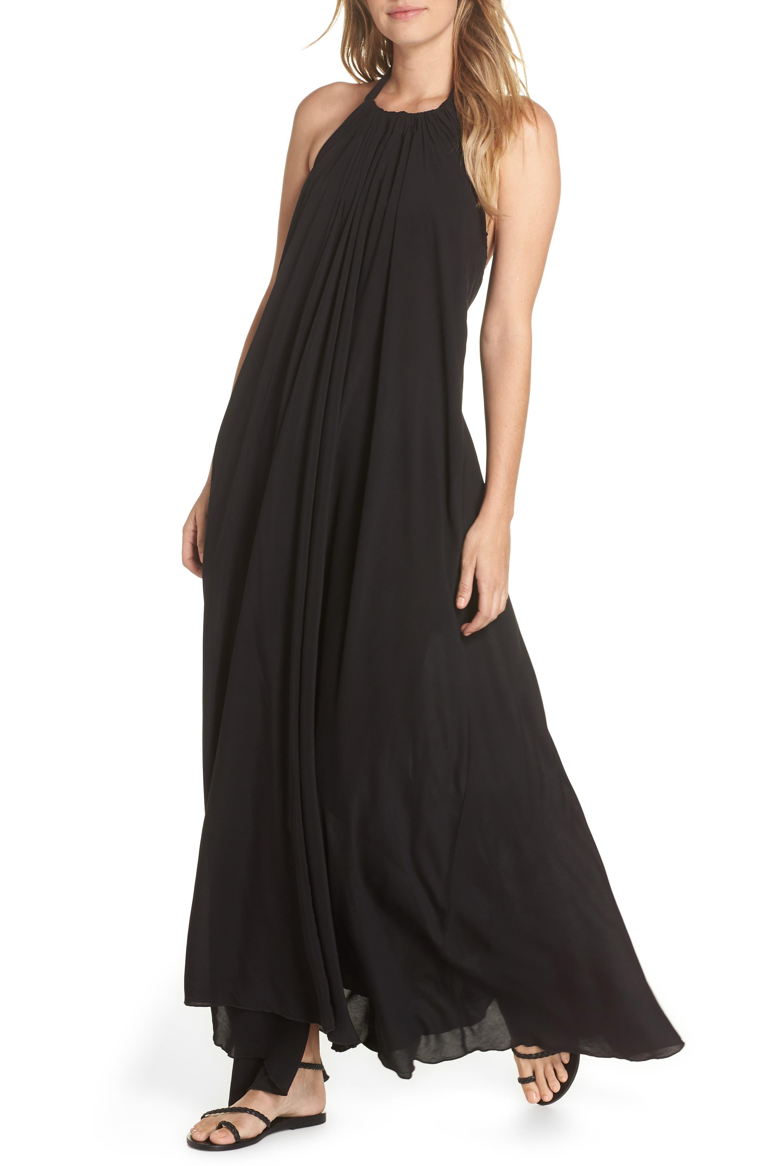 ELAN, Cover-Up Maxi Dress, Main thumbnail 1, color, BLACK