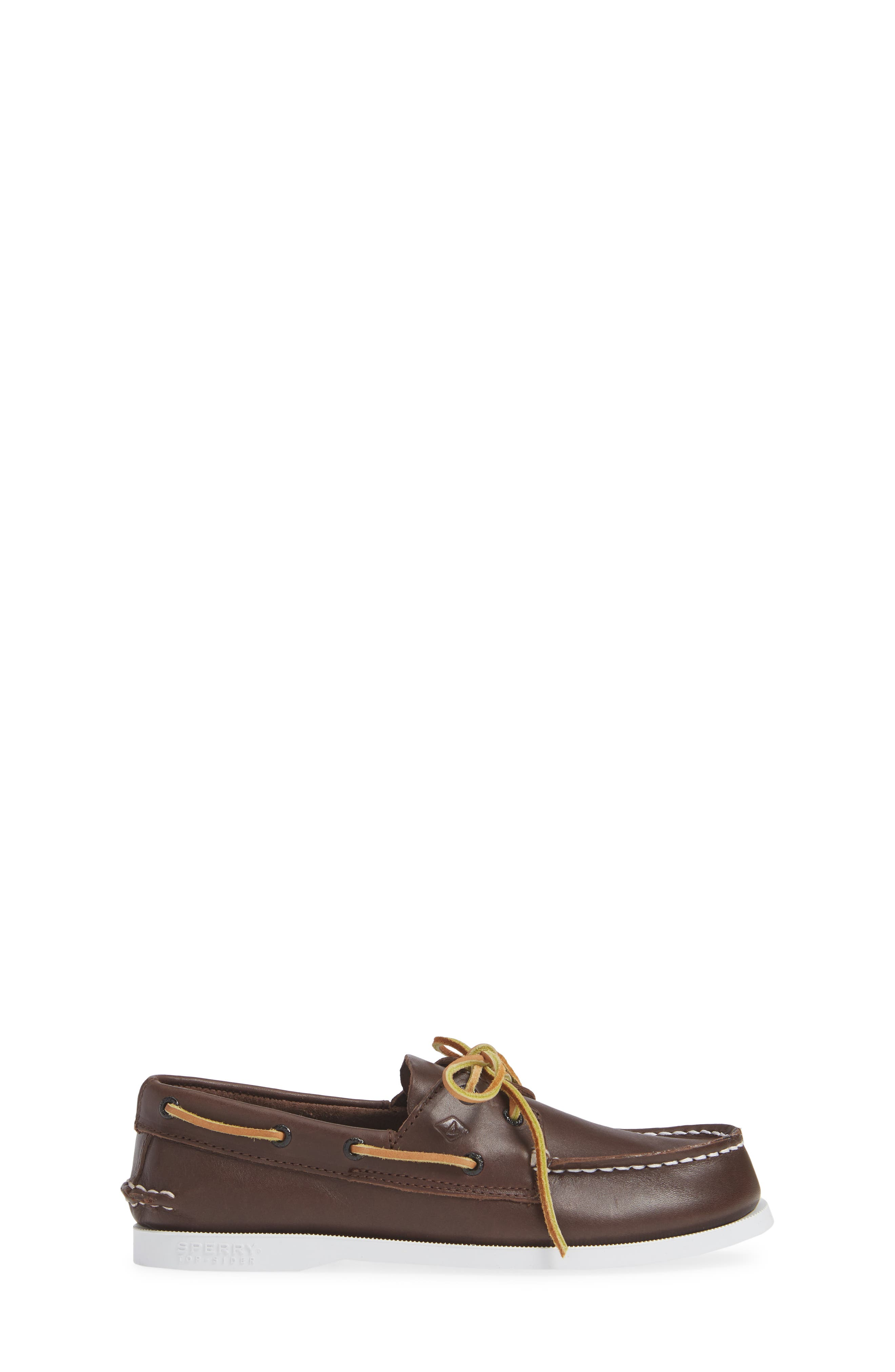 SPERRY KIDS, 'Authentic Original' Boat Shoe, Alternate thumbnail 4, color, BROWN LEATHER