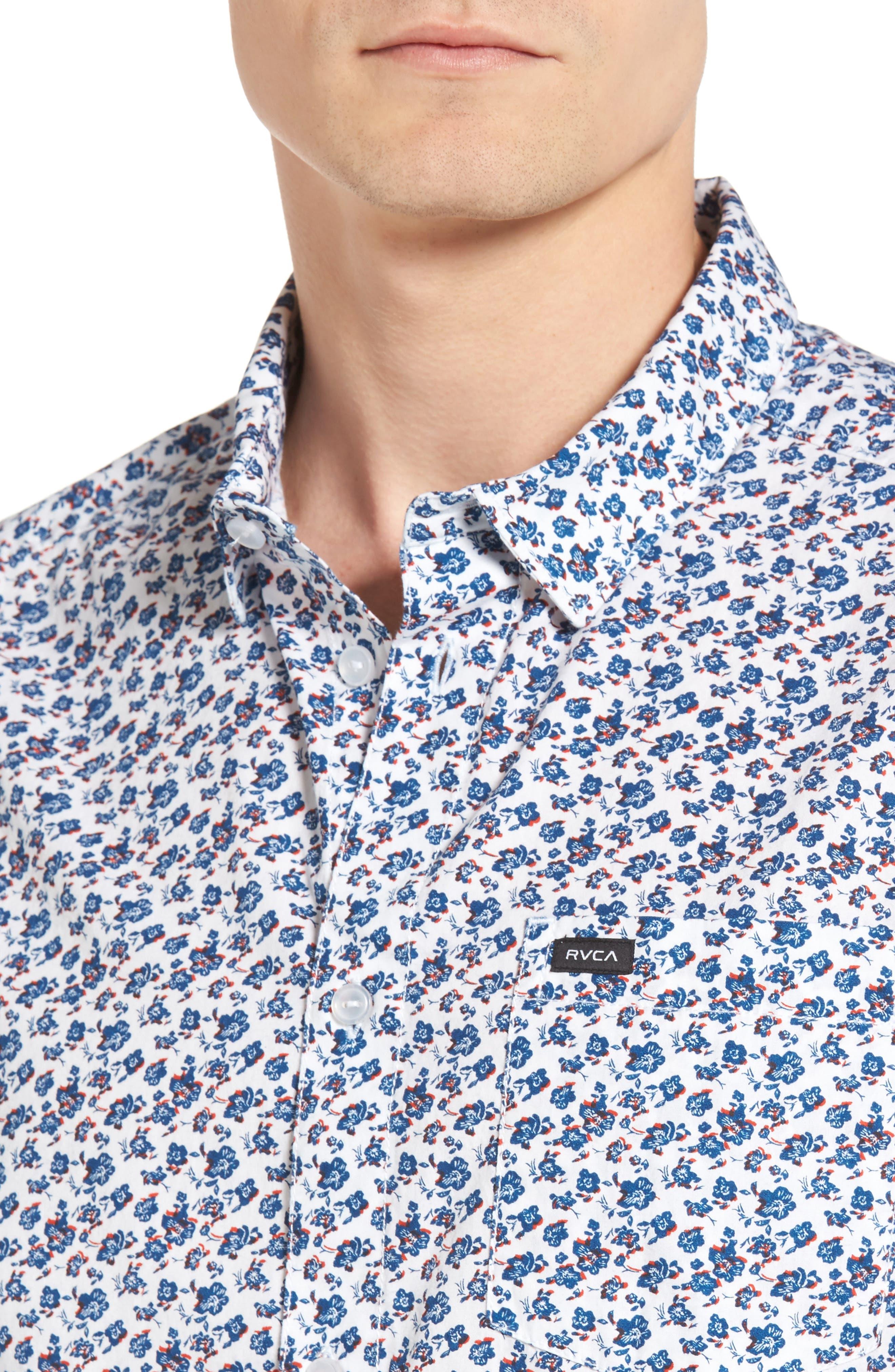 RVCA, Print Woven Shirt, Alternate thumbnail 4, color, ANTIQUE WHITE