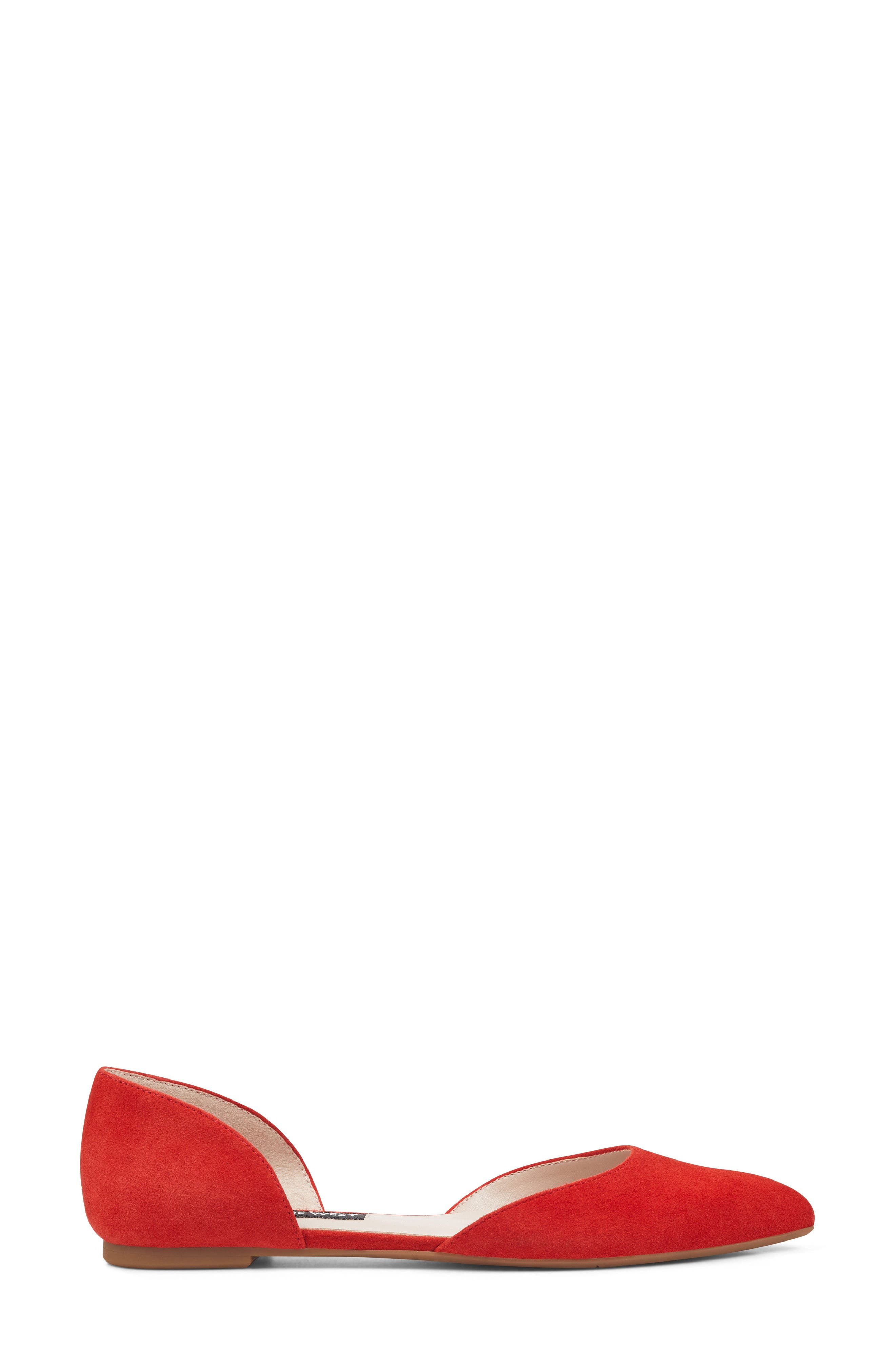 NINE WEST, Starship d'Orsay Flat, Alternate thumbnail 3, color, RED SUEDE