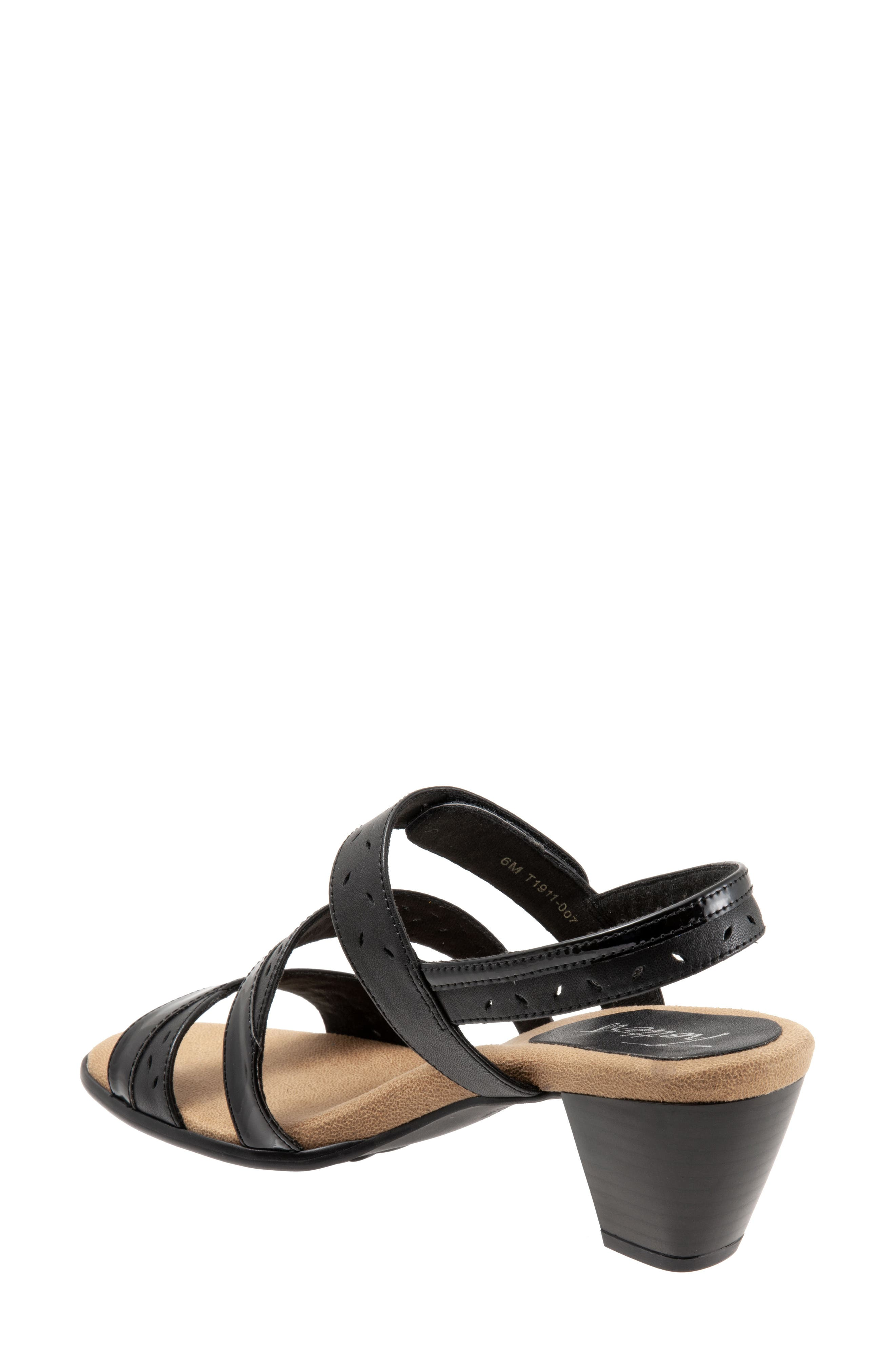 TROTTERS, Marvie Perforated Strappy Sandal, Alternate thumbnail 2, color, BLACK LEATHER