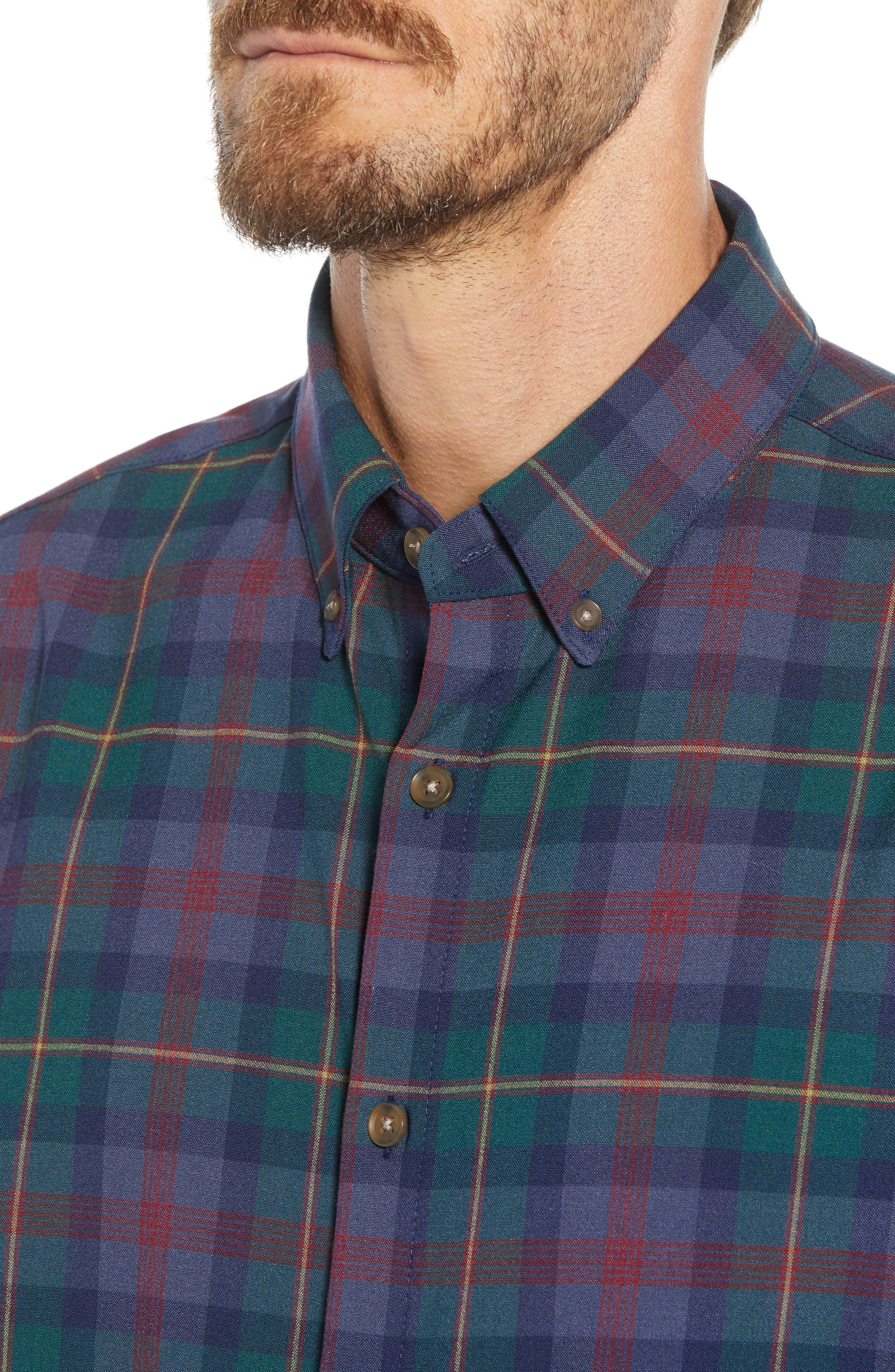 MIZZEN+MAIN, Yukon Trim Fit Flannel Performance Sport Shirt, Alternate thumbnail 2, color, GREEN