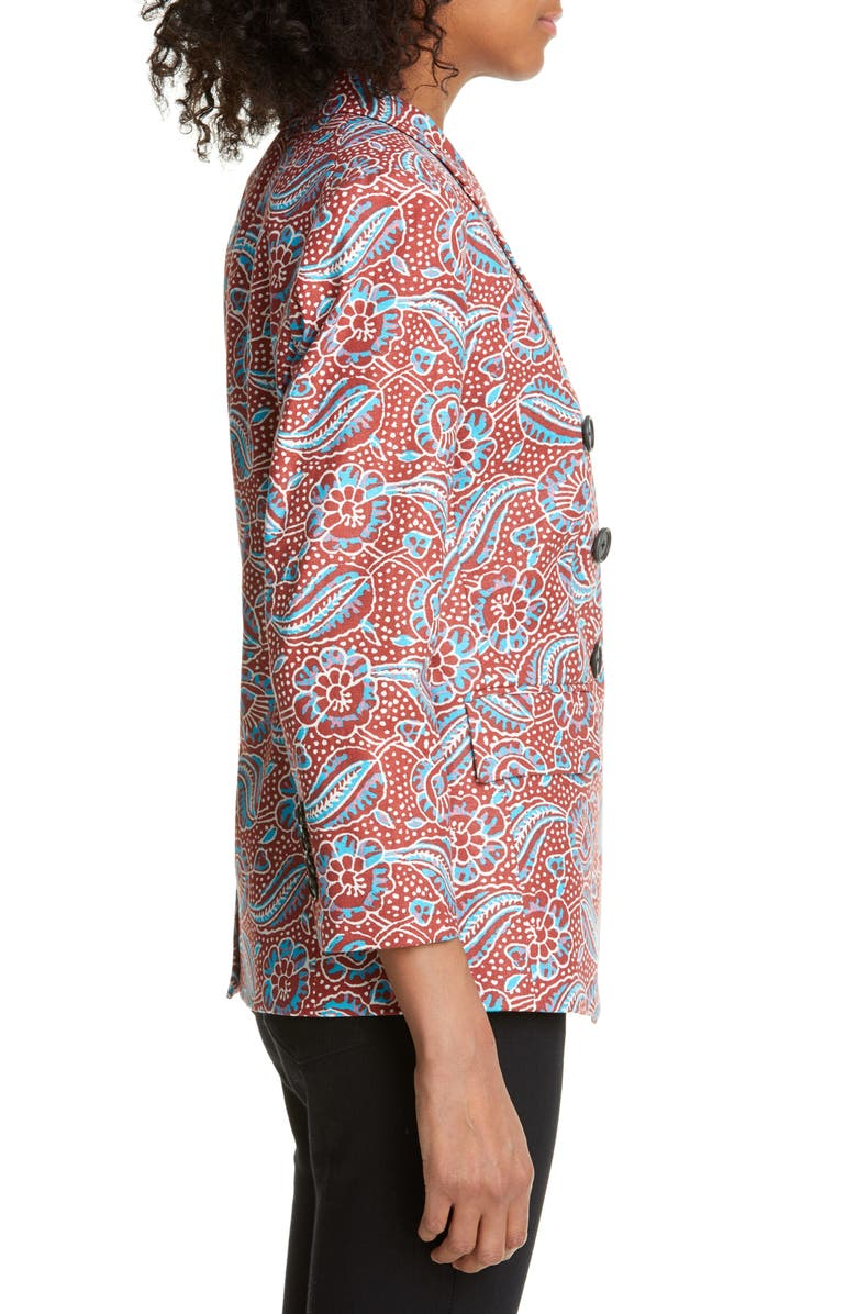 931ec212ab48 Veronica Beard Empire Printed Linen-Blend Dickey Jacket In Clay Multi
