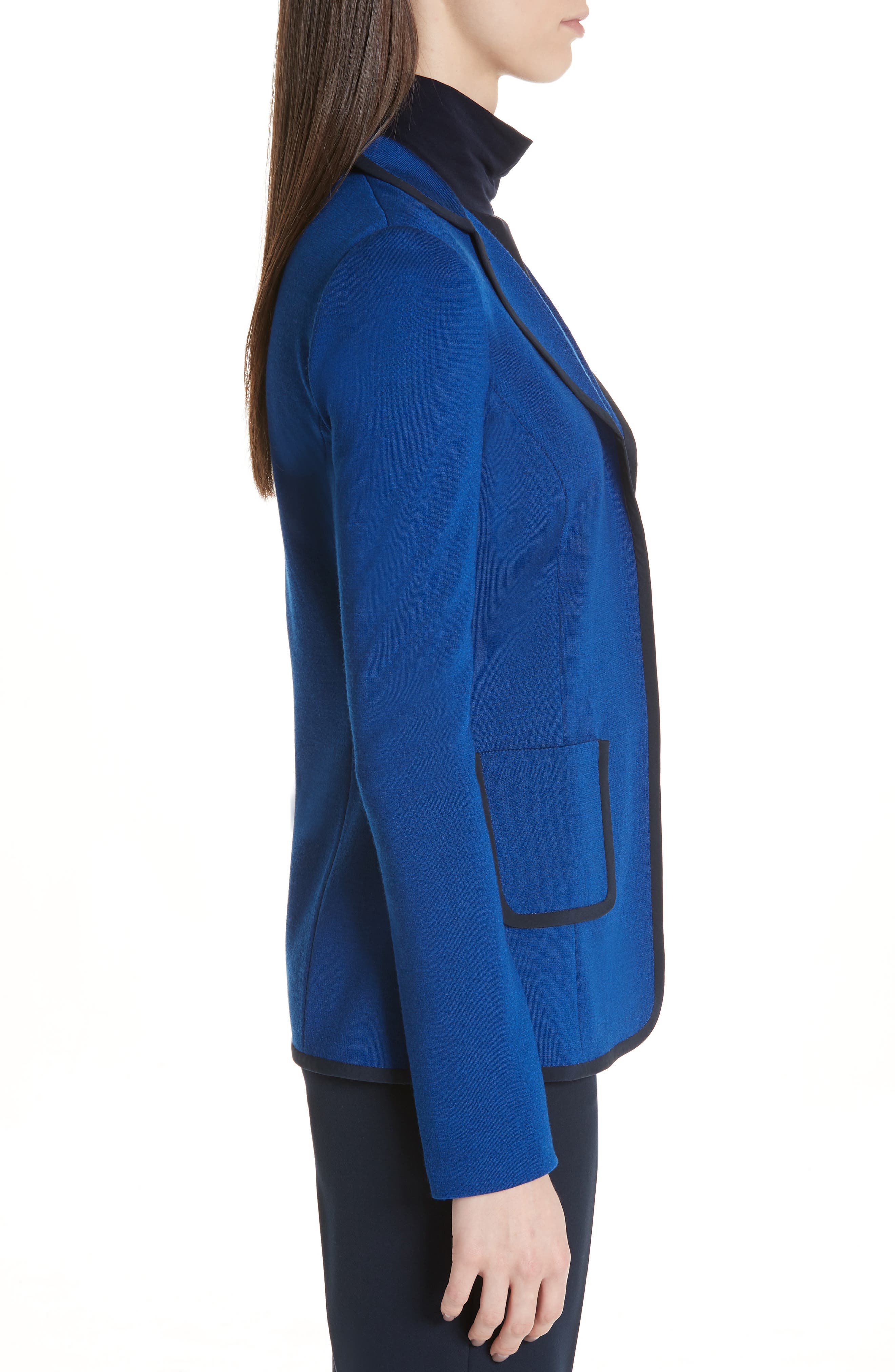 ST. JOHN COLLECTION, Patch Pocket Milano Knit Jacket, Alternate thumbnail 4, color, AZUL/ NAVY