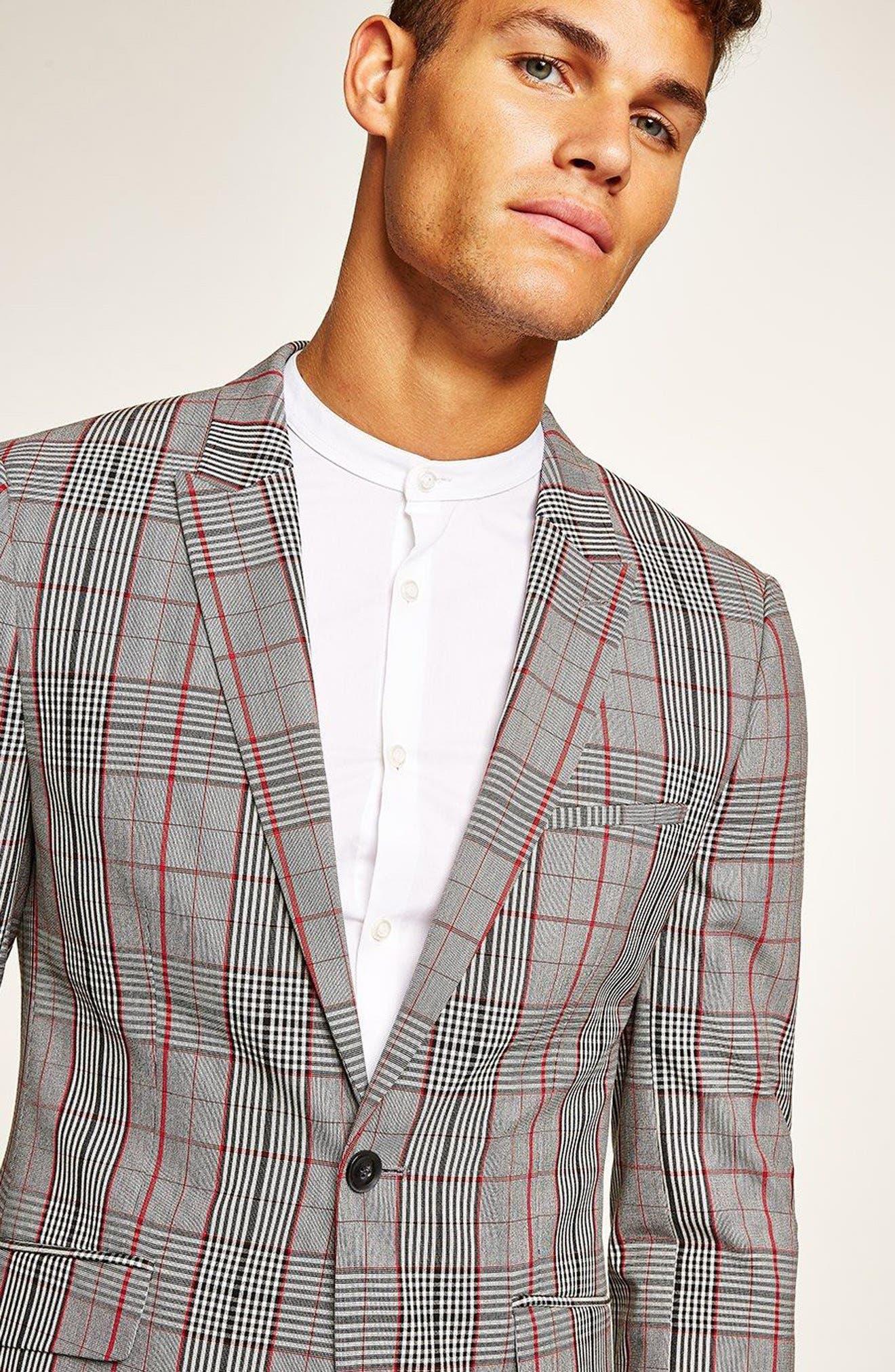 TOPMAN, Muscle Fit Check Suit Jacket, Alternate thumbnail 4, color, 020