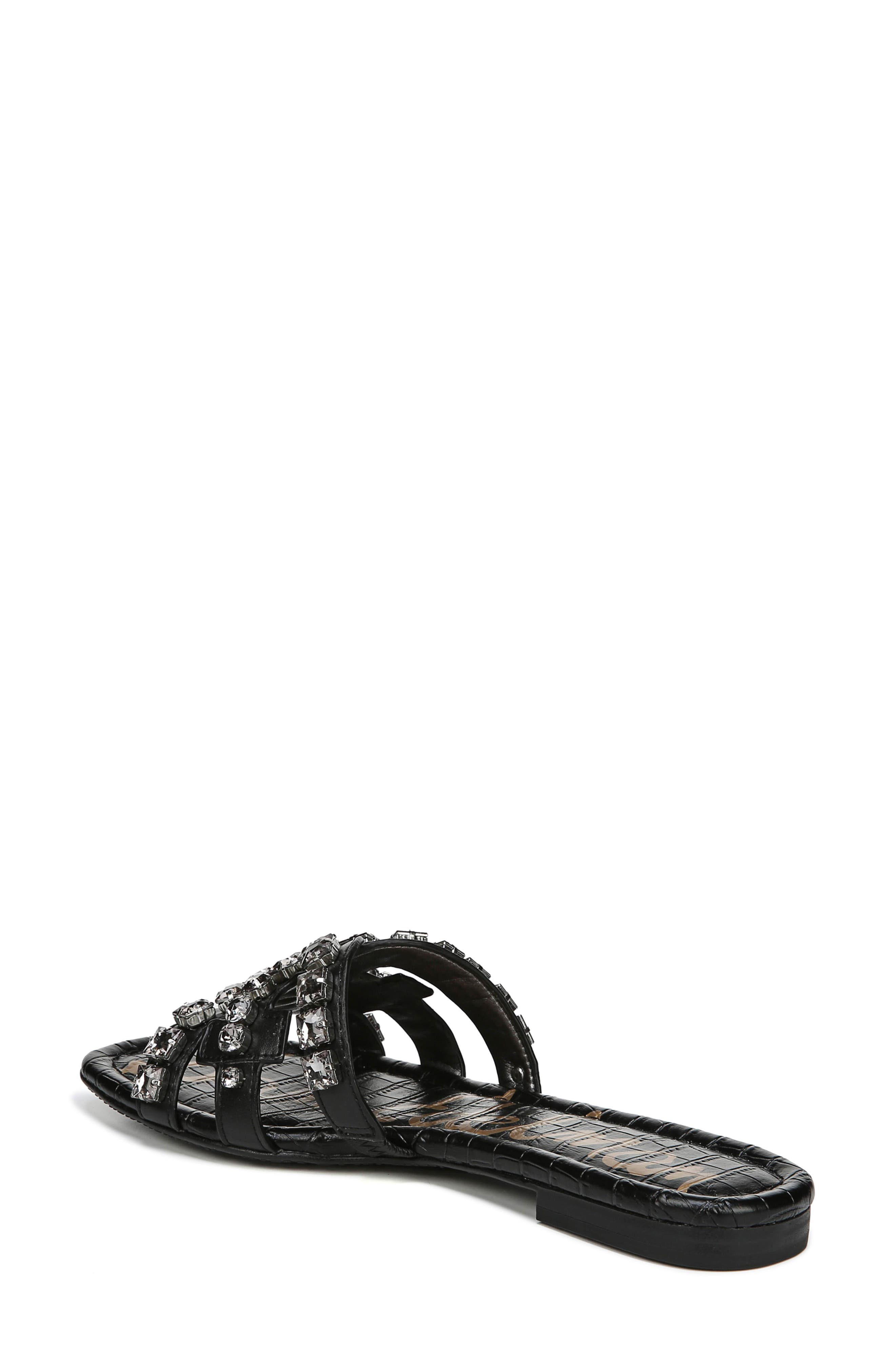 SAM EDELMAN, Bay 2 Embellished Slide Sandal, Alternate thumbnail 2, color, BLACK NAPPA LEATHER