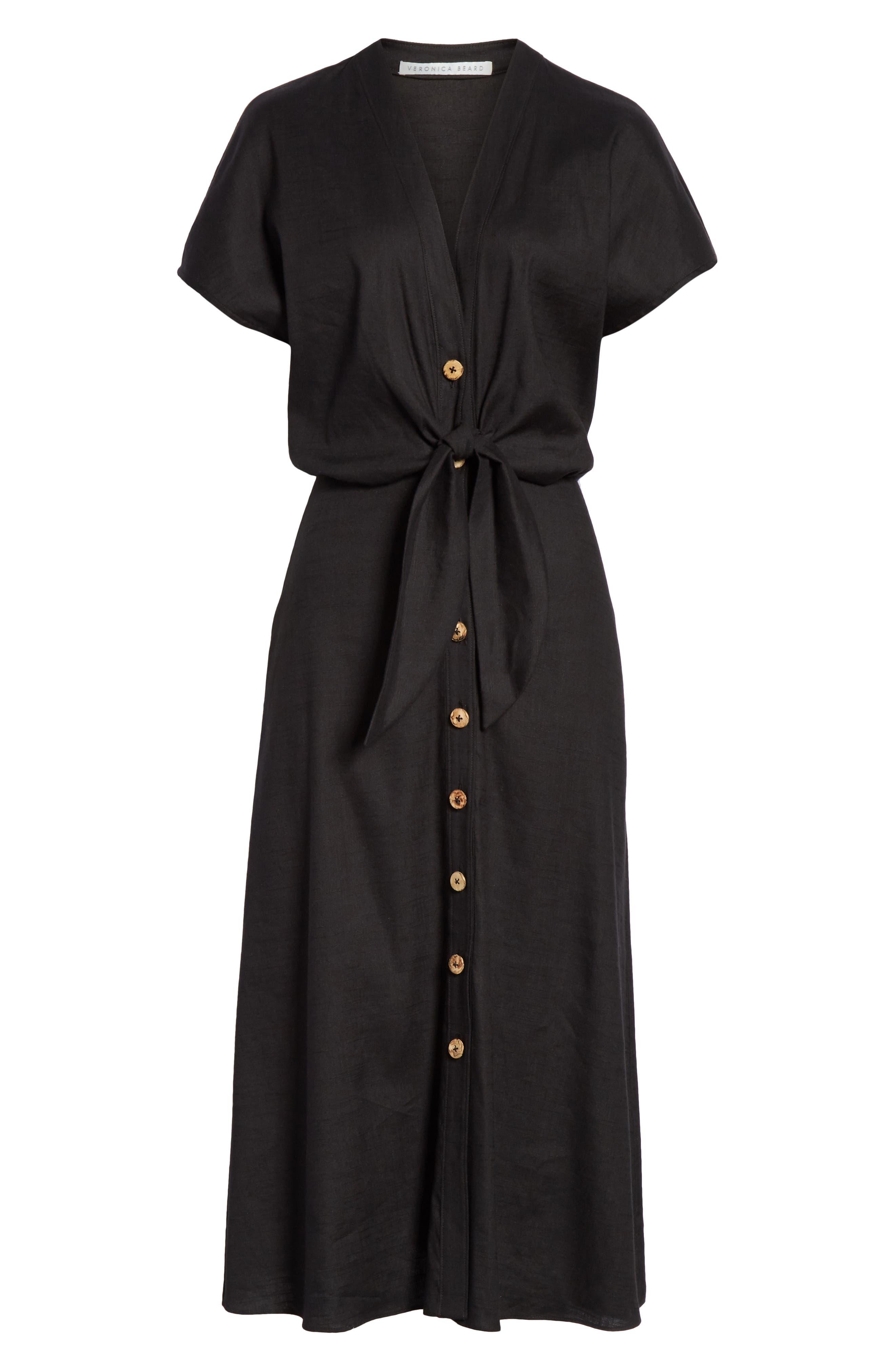 VERONICA BEARD, Giana Tie Waist Linen Blend Midi Dress, Alternate thumbnail 7, color, BLACK