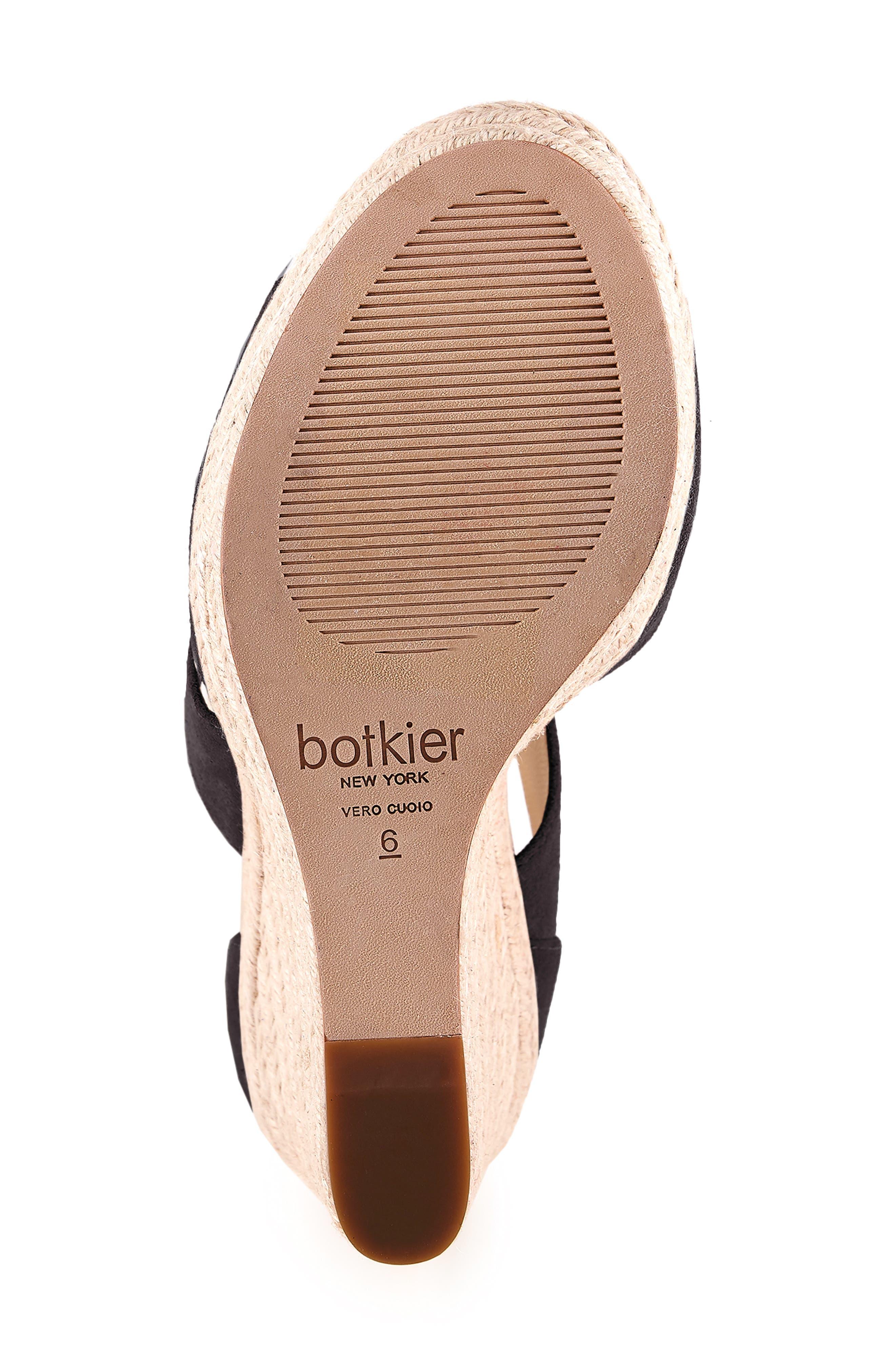BOTKIER, Julian Espadrille Wedge Sandal, Alternate thumbnail 6, color, BLACK SUEDE