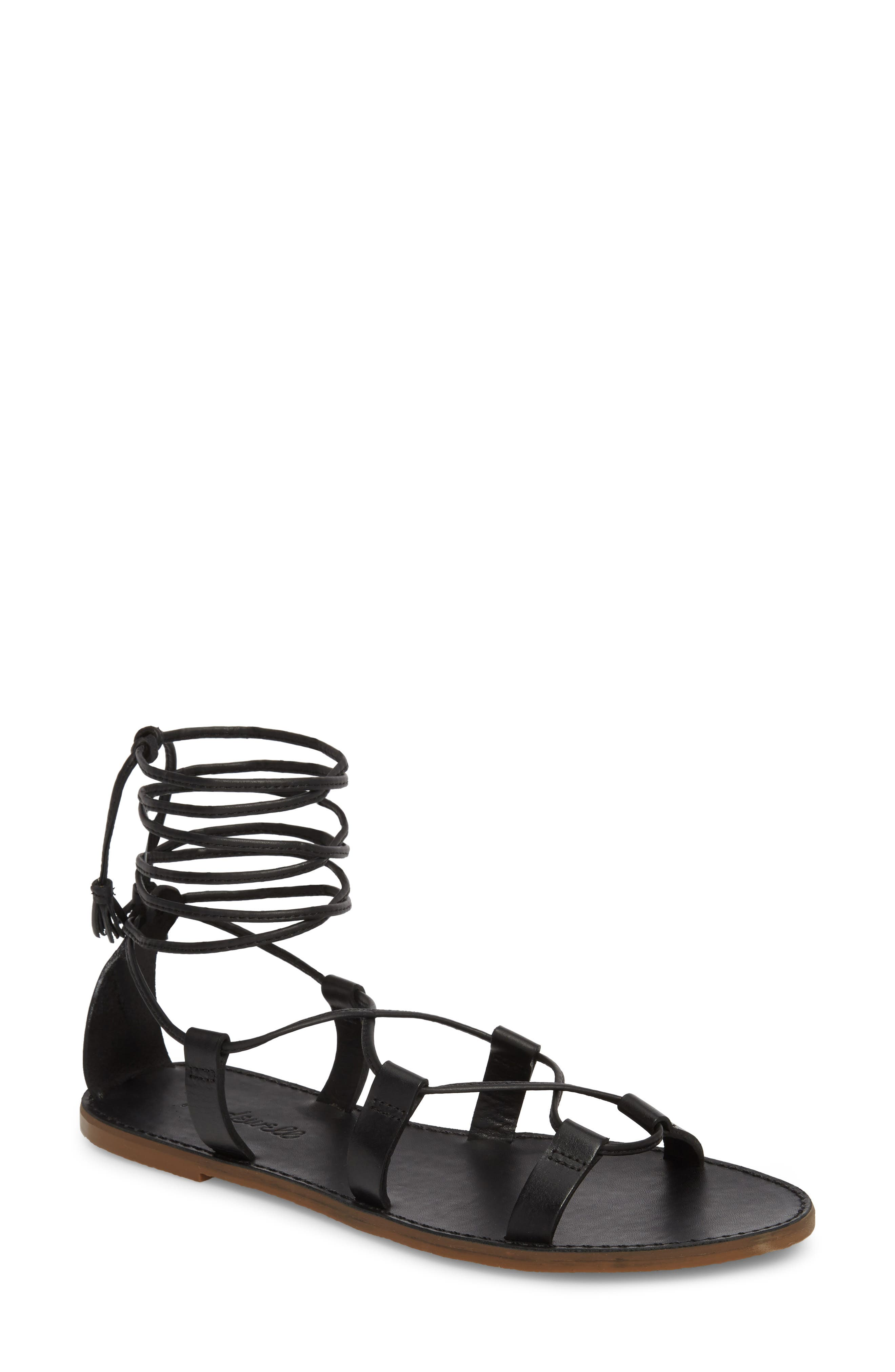 MADEWELL, The Boardwalk Lace-Up Sandal, Main thumbnail 1, color, 001