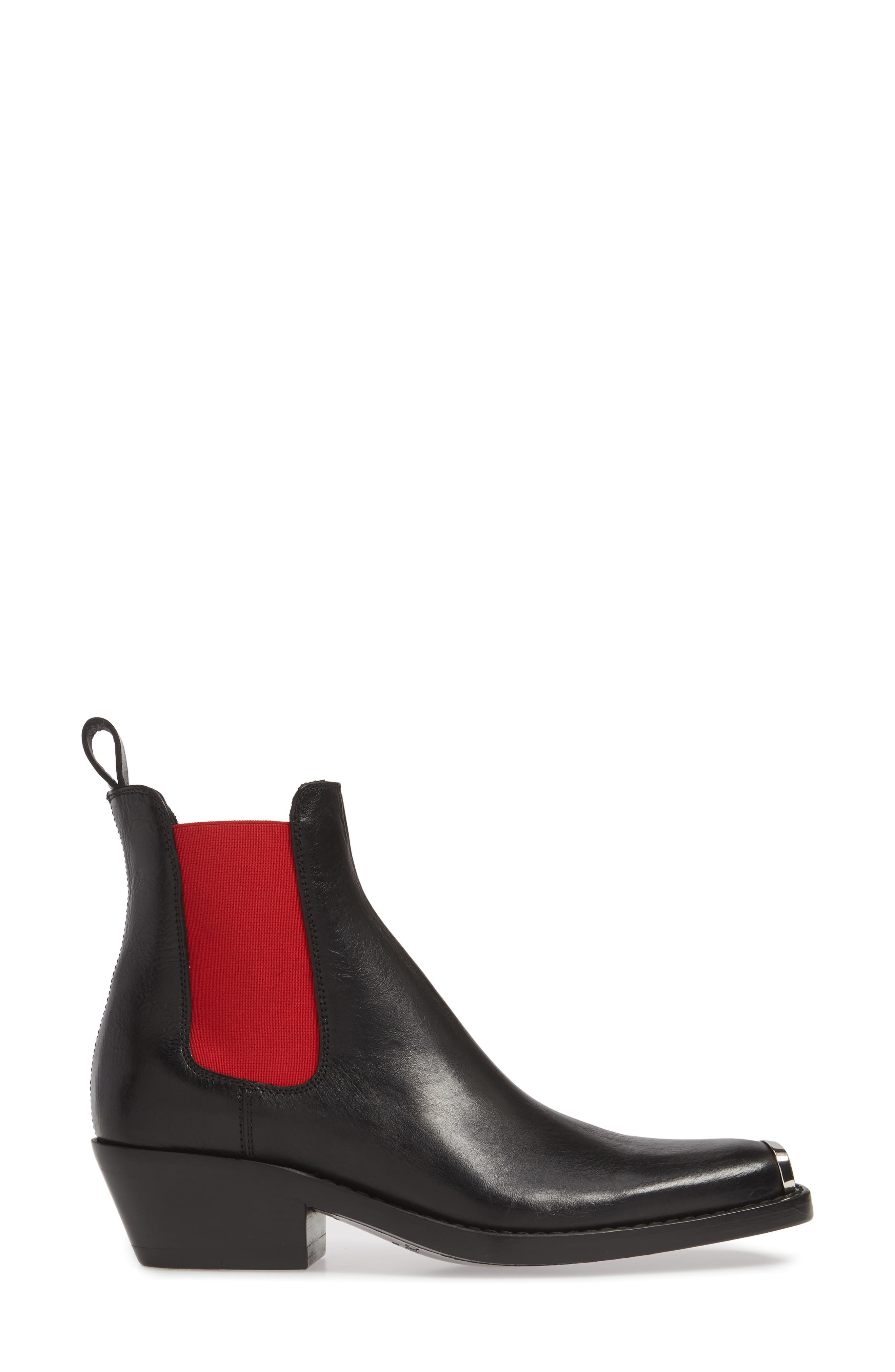 CALVIN KLEIN 205W39NYC, Claire Western Chelsea Boot, Alternate thumbnail 3, color, BLACK/ RED