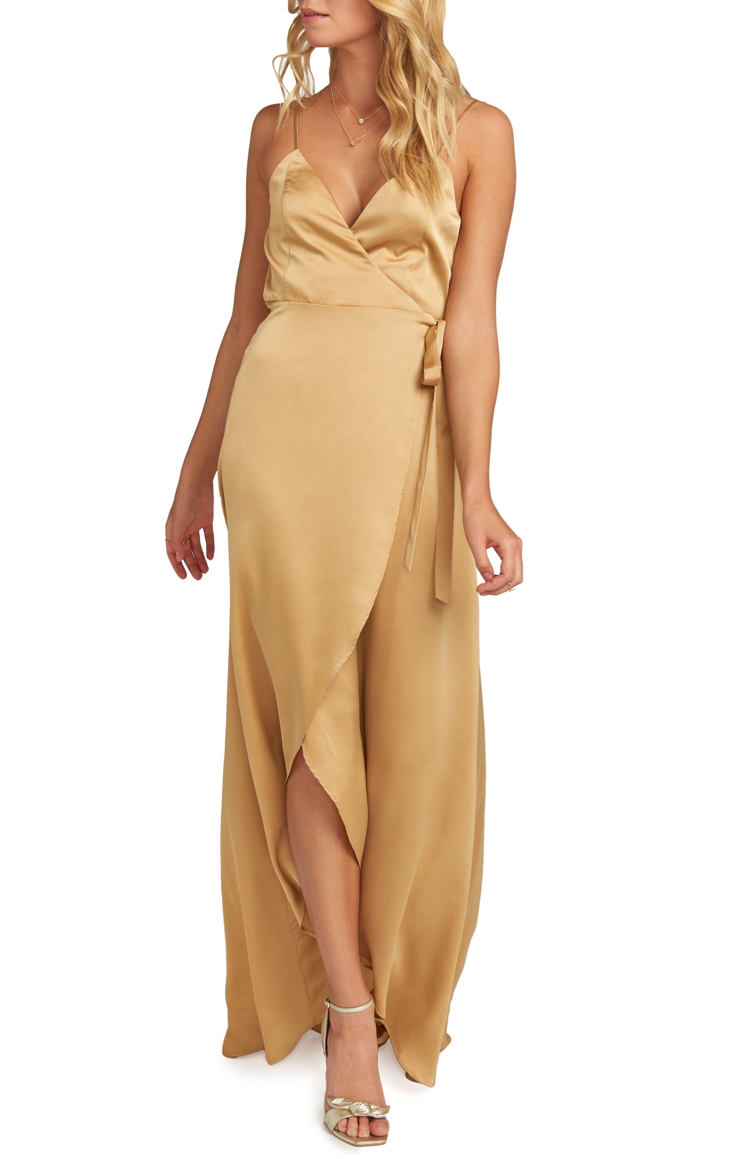 Show Me Your Mumu Mariah Wrap Evening Dress, Yellow